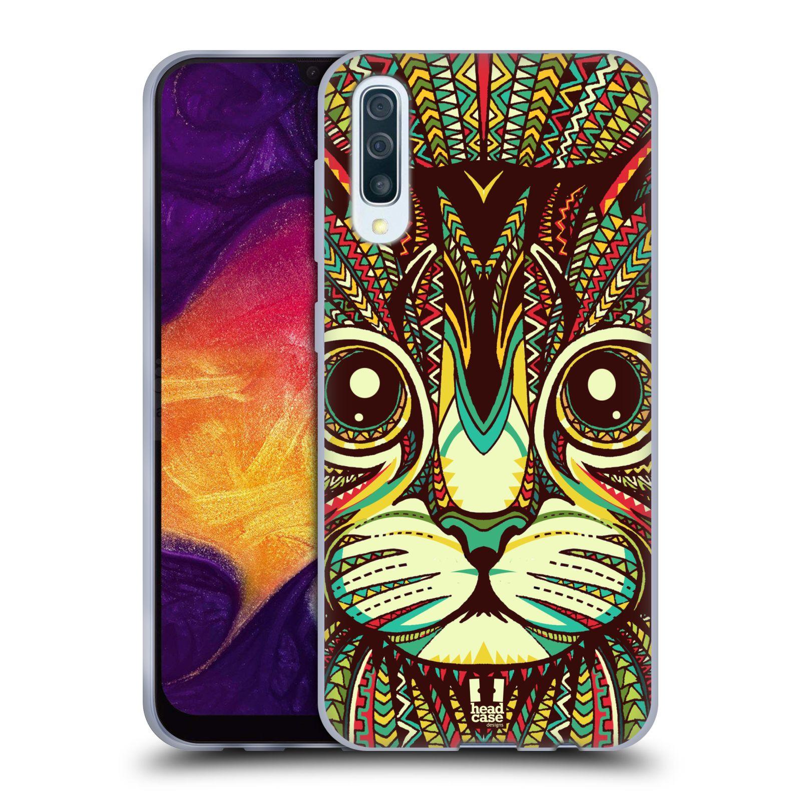 Silikonové pouzdro na mobil Samsung Galaxy A50 / A30s - Head Case - AZTEC KOČKA