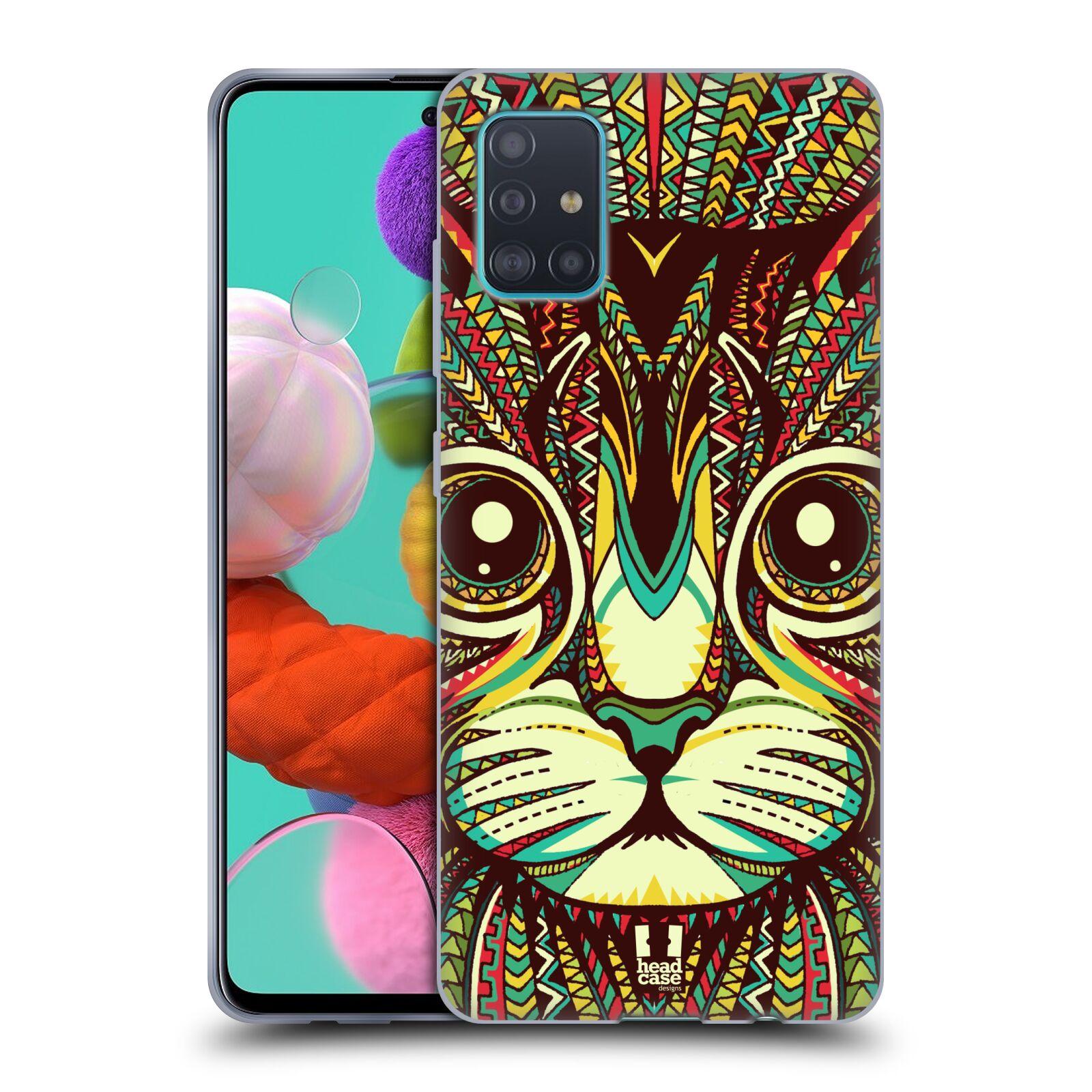 Silikonové pouzdro na mobil Samsung Galaxy A51 - Head Case - AZTEC KOČKA