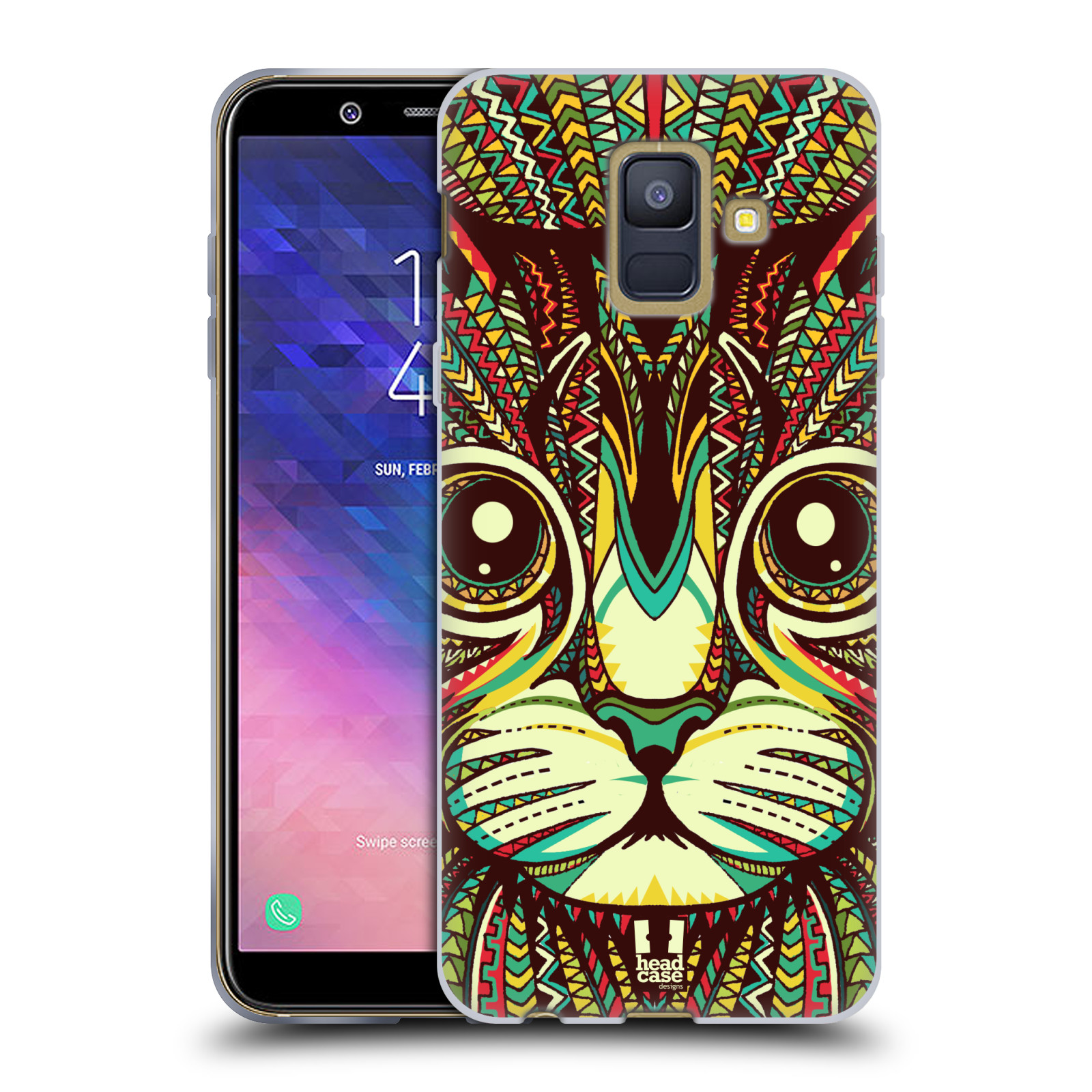 Silikonové pouzdro na mobil Samsung Galaxy A6 (2018) - Head Case - AZTEC KOČKA