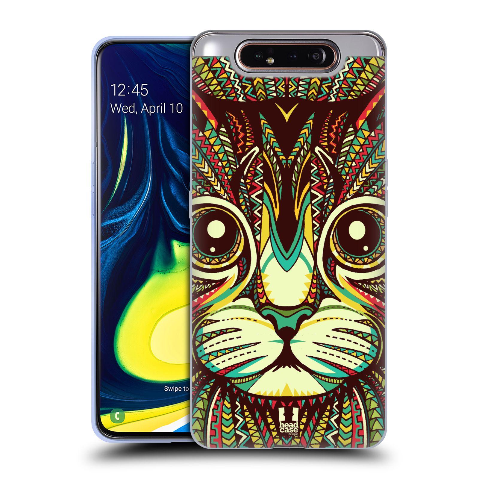 Silikonové pouzdro na mobil Samsung Galaxy A80 - Head Case - AZTEC KOČKA