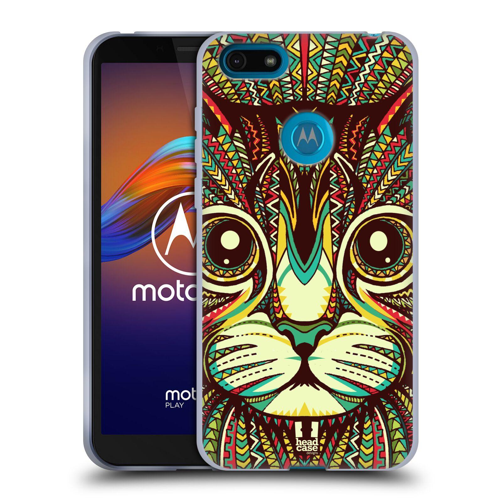 Silikonové pouzdro na mobil Motorola Moto E6 Play - Head Case - AZTEC KOČKA