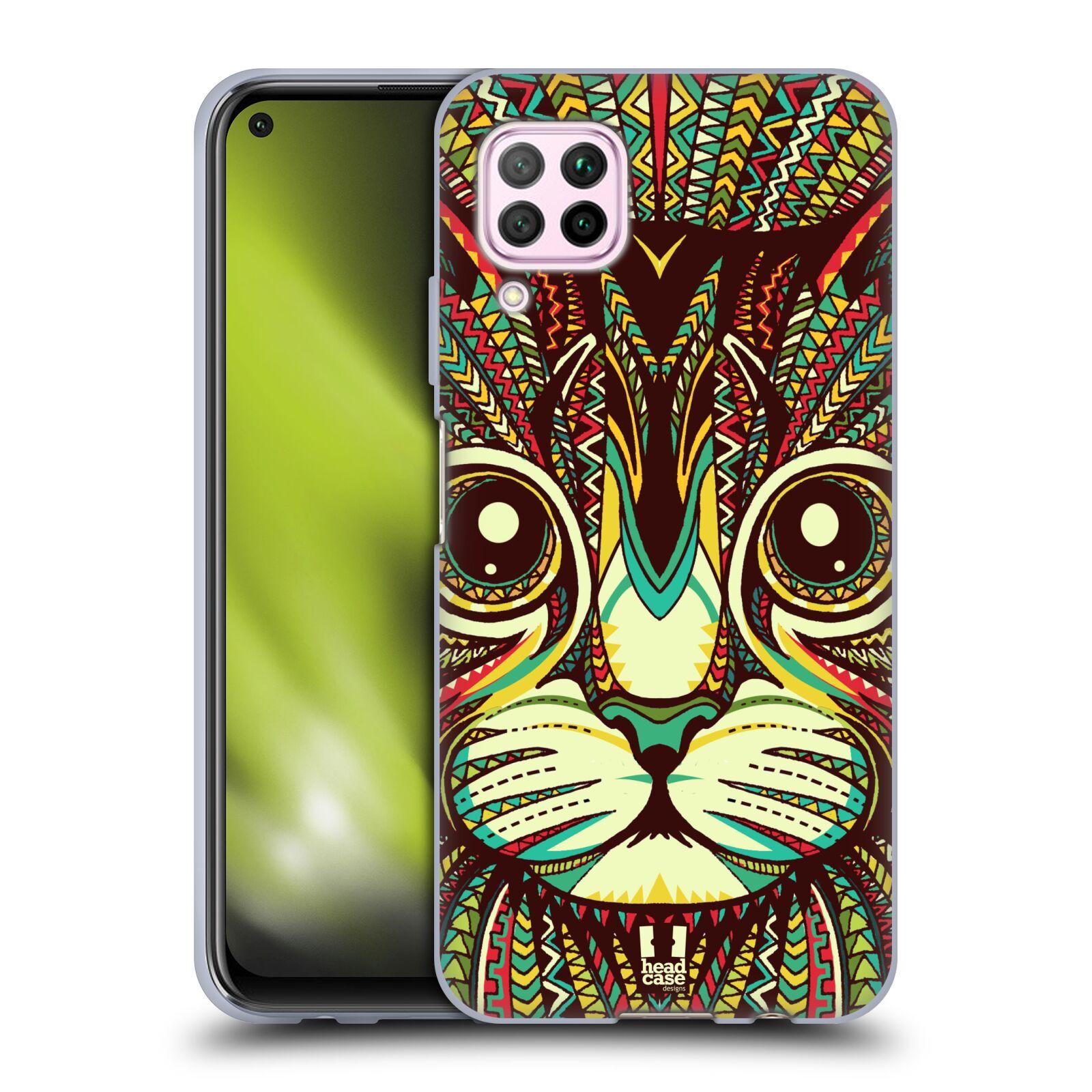 Silikonové pouzdro na mobil Huawei P40 Lite - Head Case - AZTEC KOČKA