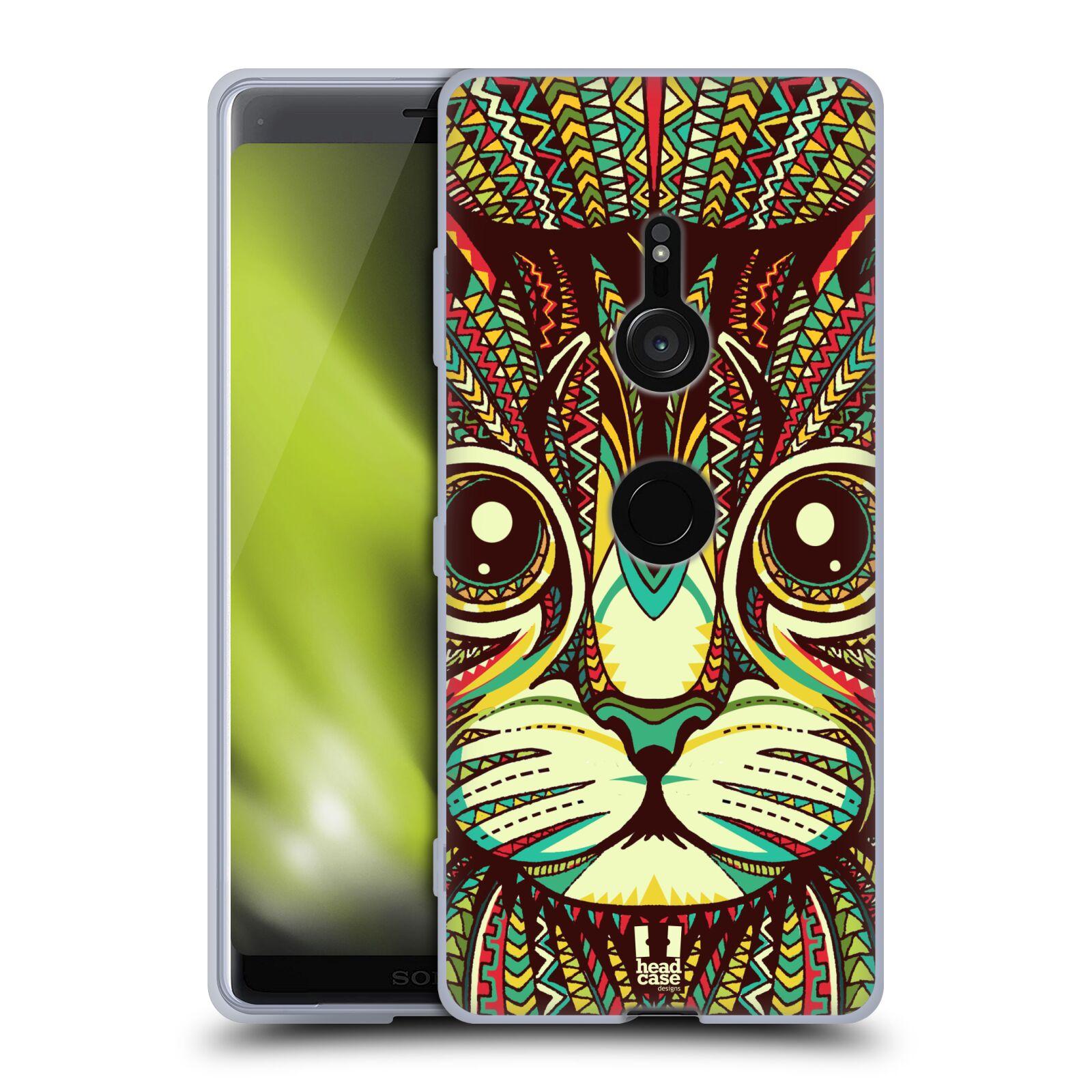 Silikonové pouzdro na mobil Sony Xperia XZ3 - Head Case - AZTEC KOČKA