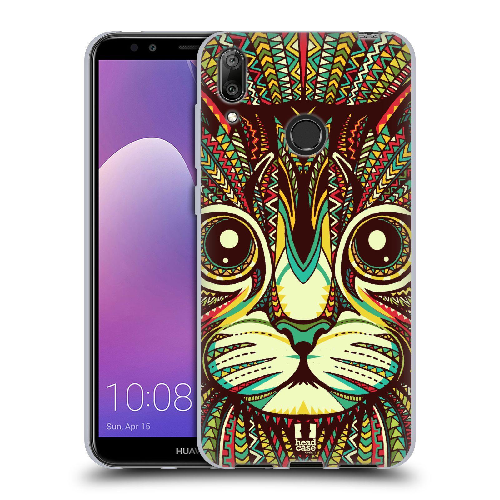 Silikonové pouzdro na mobil Huawei Y7 (2019) - Head Case - AZTEC KOČKA