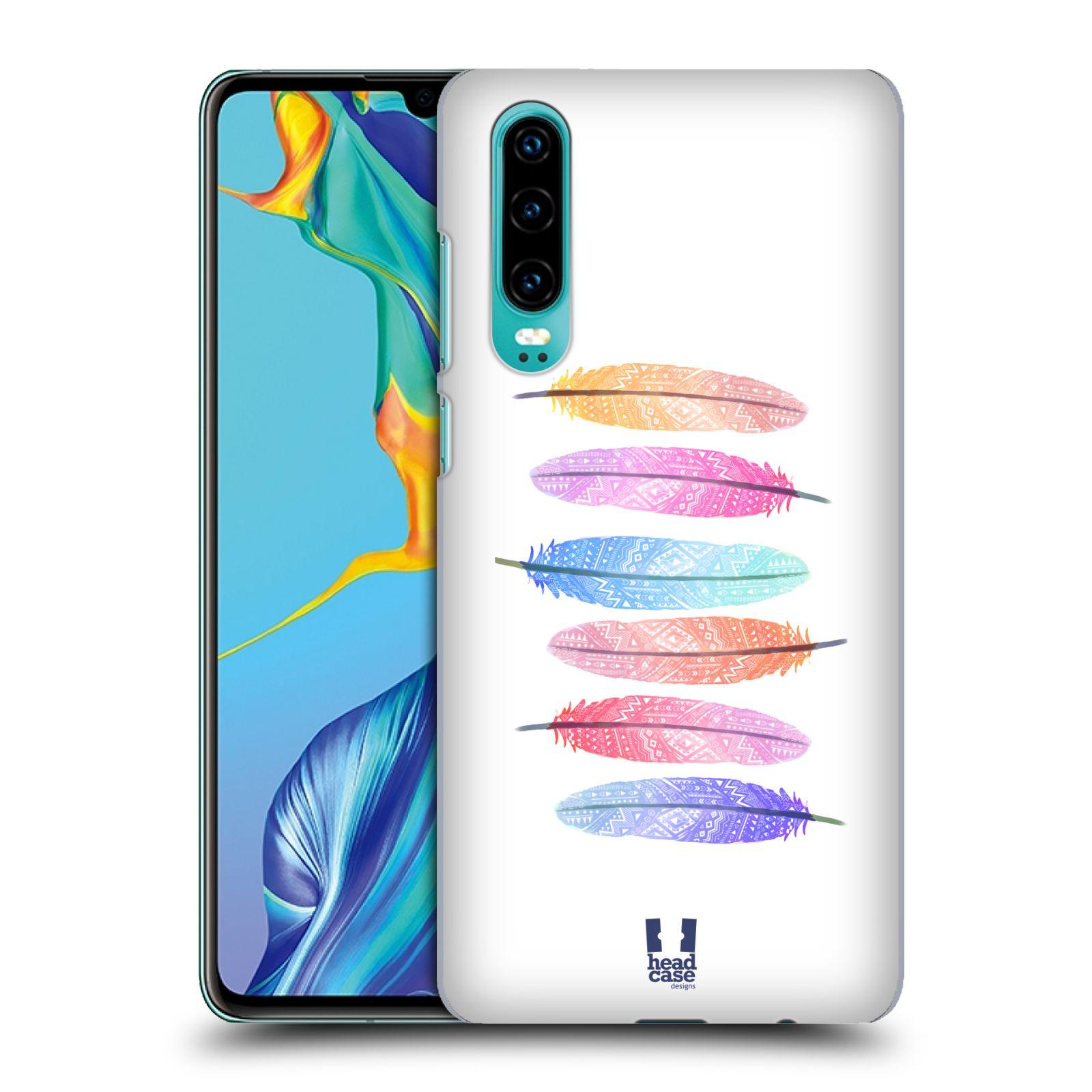 Plastové pouzdro na mobil Huawei P30 - Head Case - AZTEC PÍRKA SILUETY