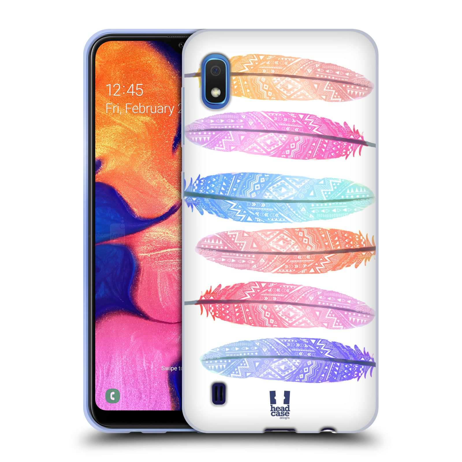Silikonové pouzdro na mobil Samsung Galaxy A10 - Head Case - AZTEC PÍRKA SILUETY