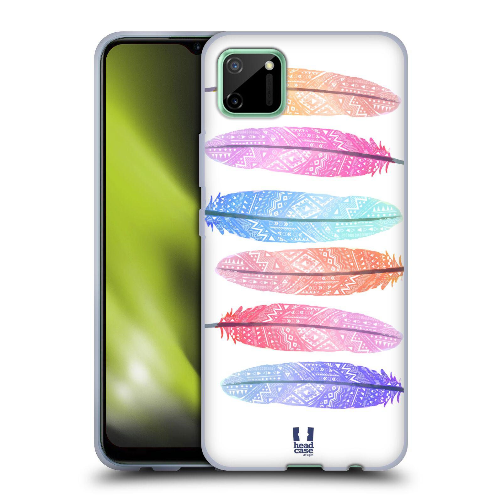 Silikonové pouzdro na mobil Realme C11 - Head Case - AZTEC PÍRKA SILUETY
