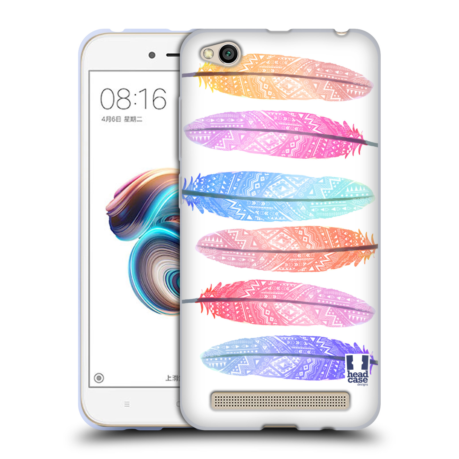 Silikonové pouzdro na mobil Xiaomi Redmi 5A - Head Case - AZTEC PÍRKA SILUETY