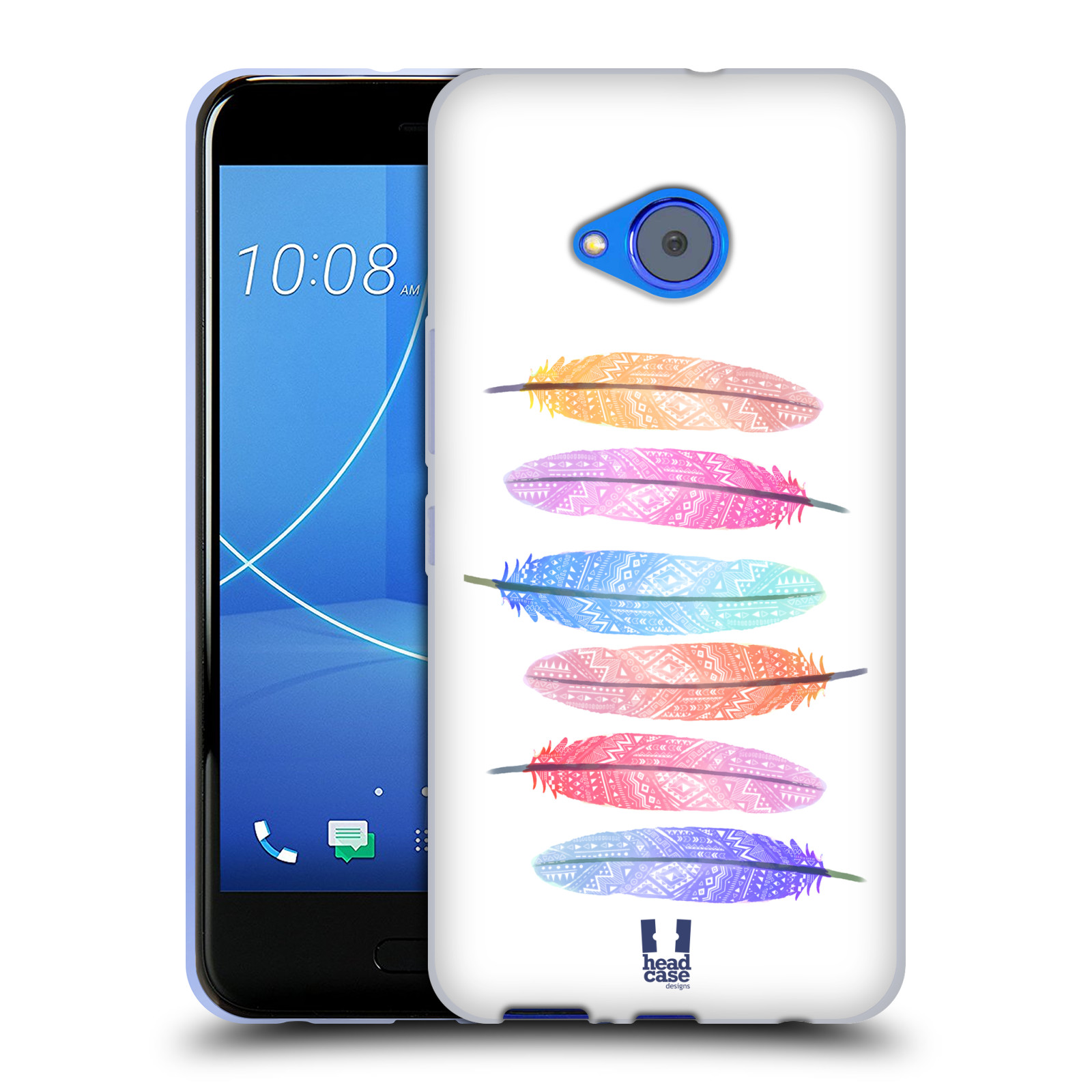 Silikonové pouzdro na mobil HTC U11 Life - Head Case - AZTEC PÍRKA SILUETY