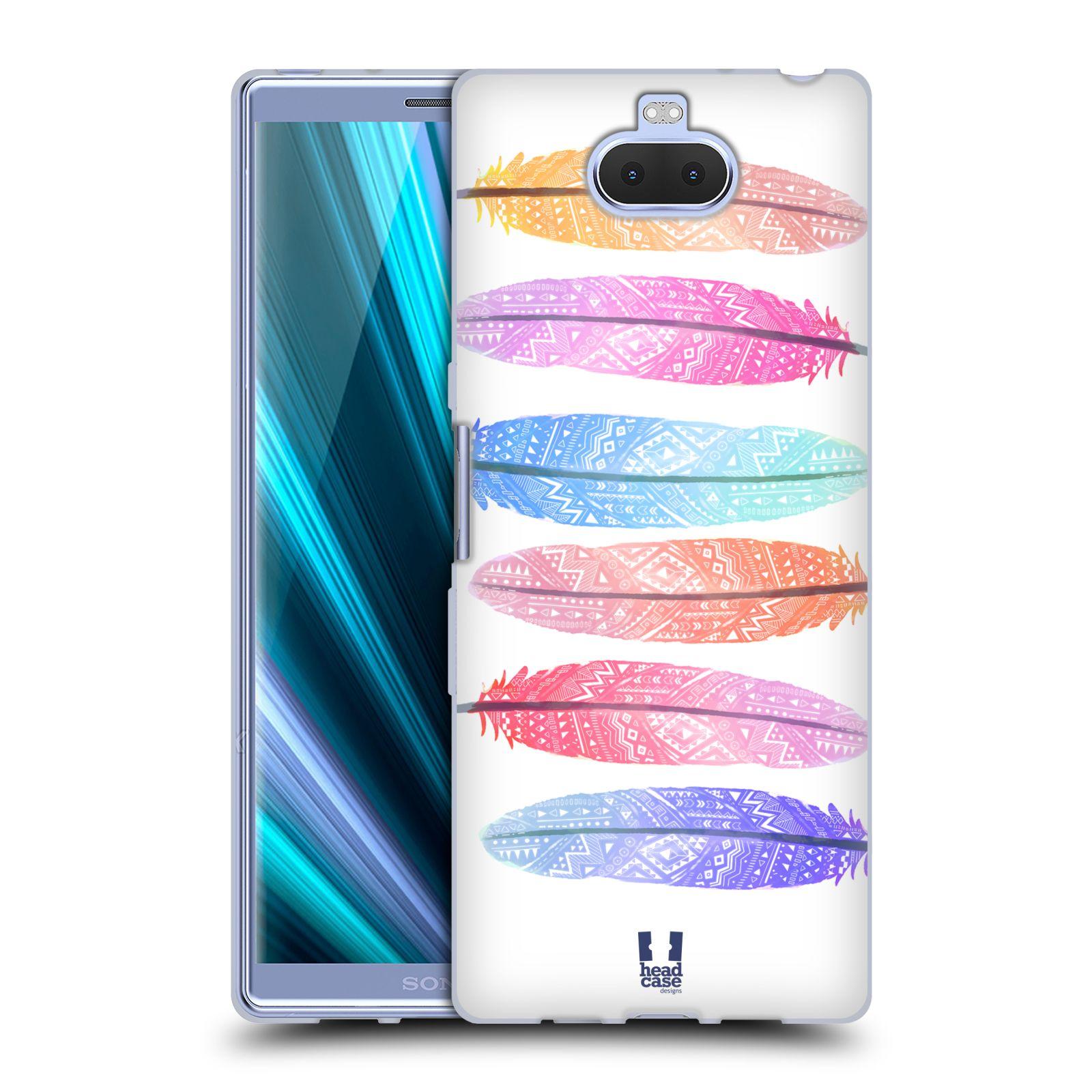 Silikonové pouzdro na mobil Sony Xperia 10 Plus - Head Case - AZTEC PÍRKA SILUETY