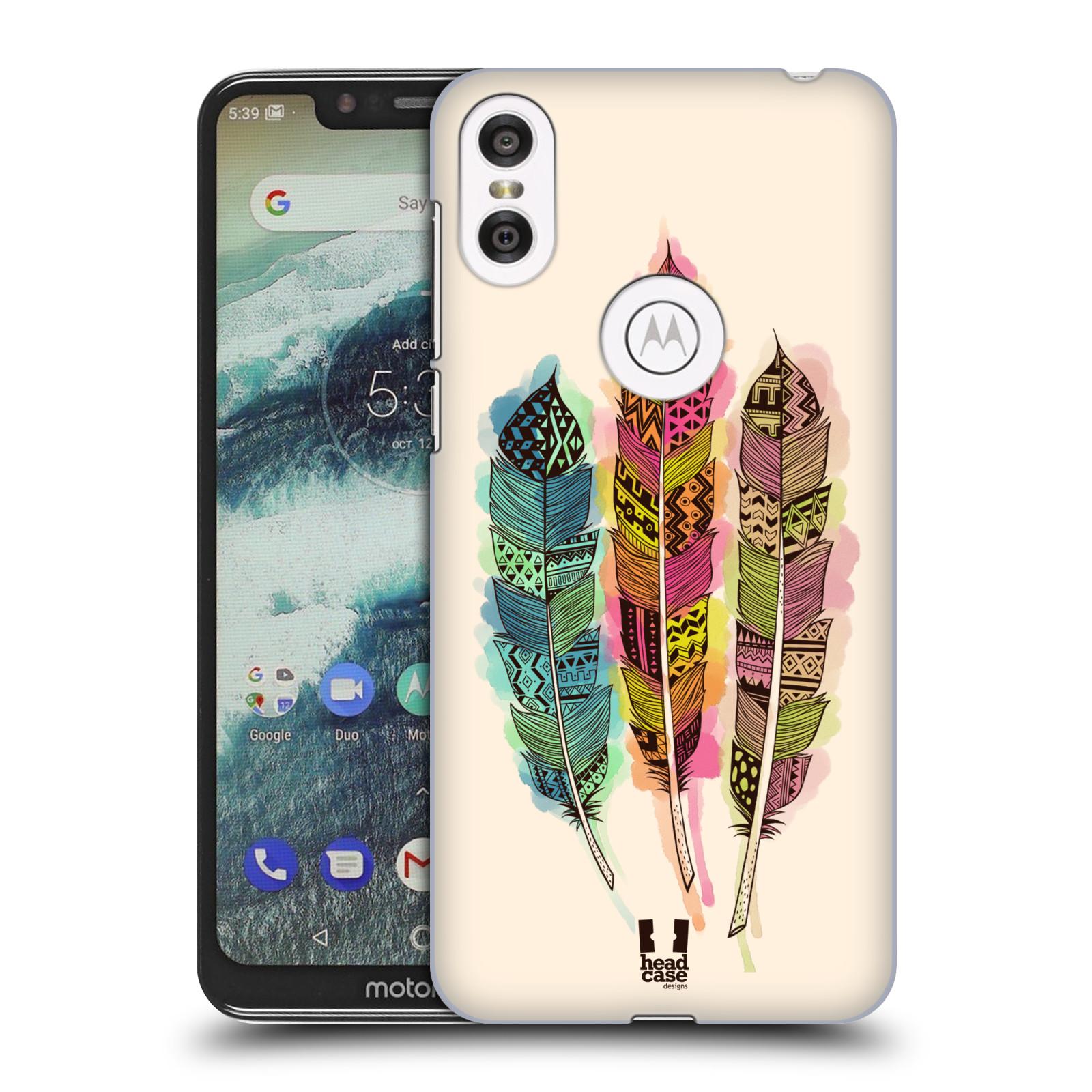 Plastové pouzdro na mobil Motorola One - Head Case - AZTEC PÍRKA SPLASH