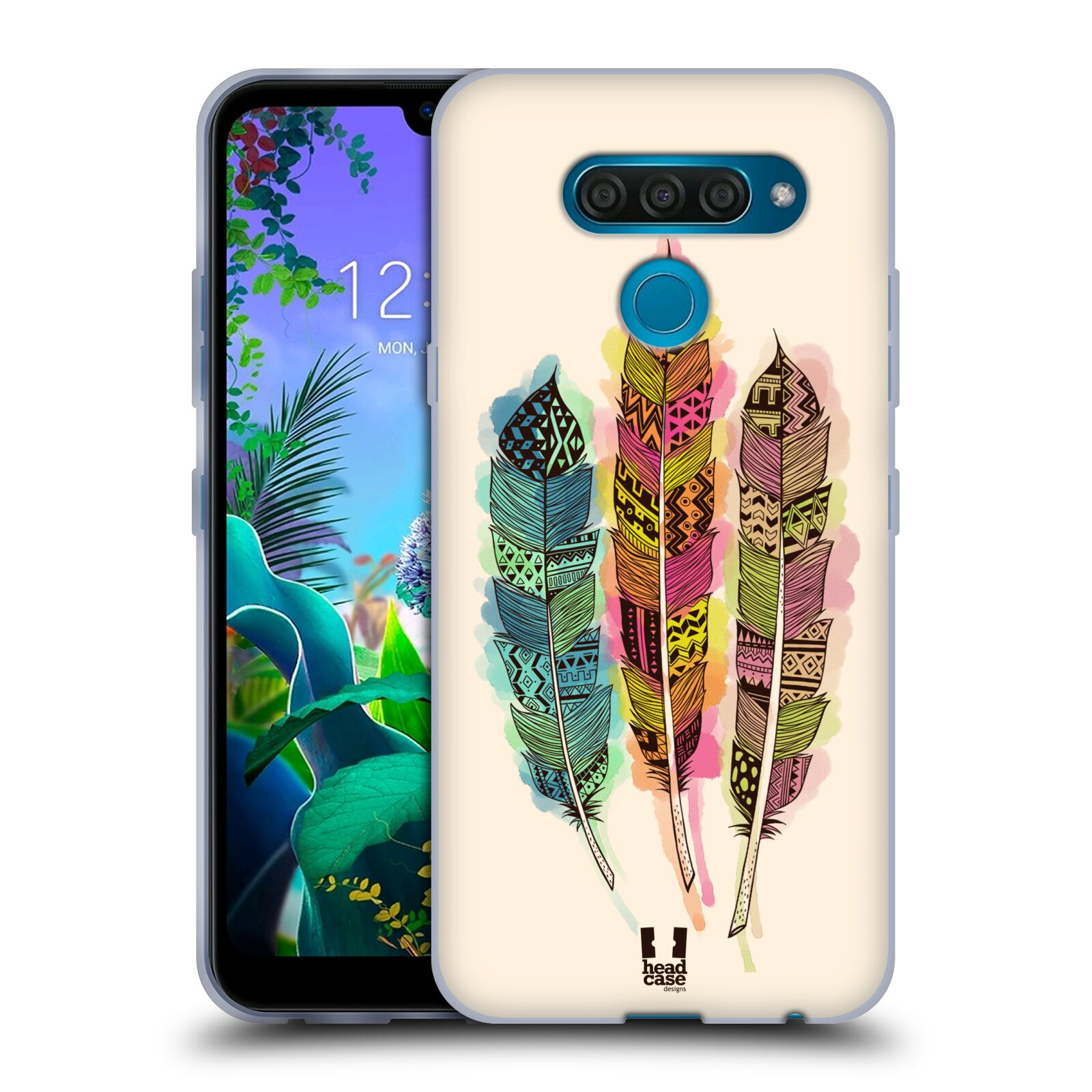 Silikonové pouzdro na mobil LG Q60 - Head Case - AZTEC PÍRKA SPLASH