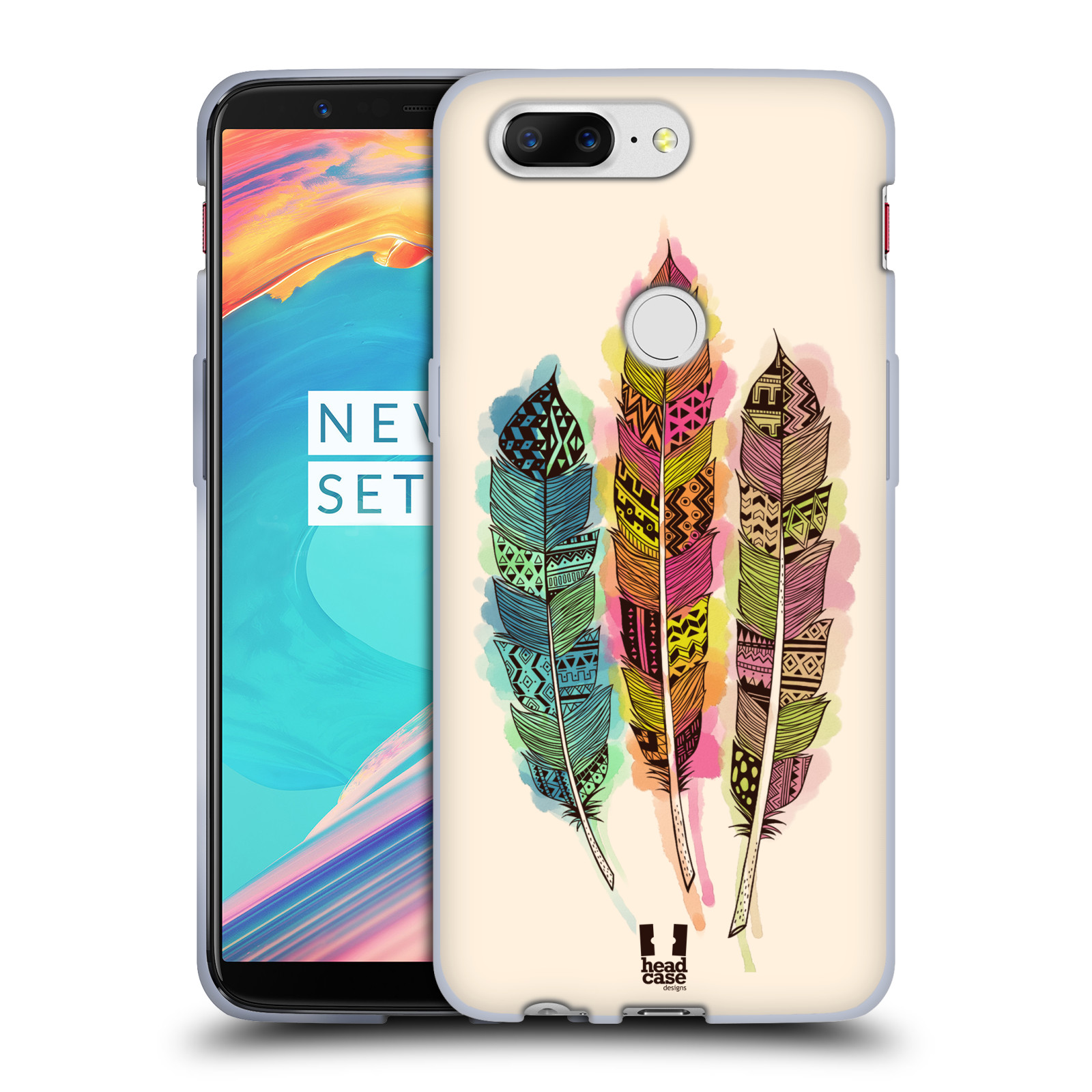 Silikonové pouzdro na mobil OnePlus 5T - Head Case - AZTEC PÍRKA SPLASH