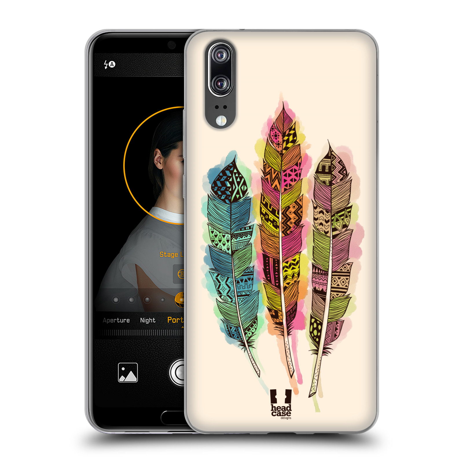 Silikonové pouzdro na mobil Huawei P20 - Head Case - AZTEC PÍRKA SPLASH