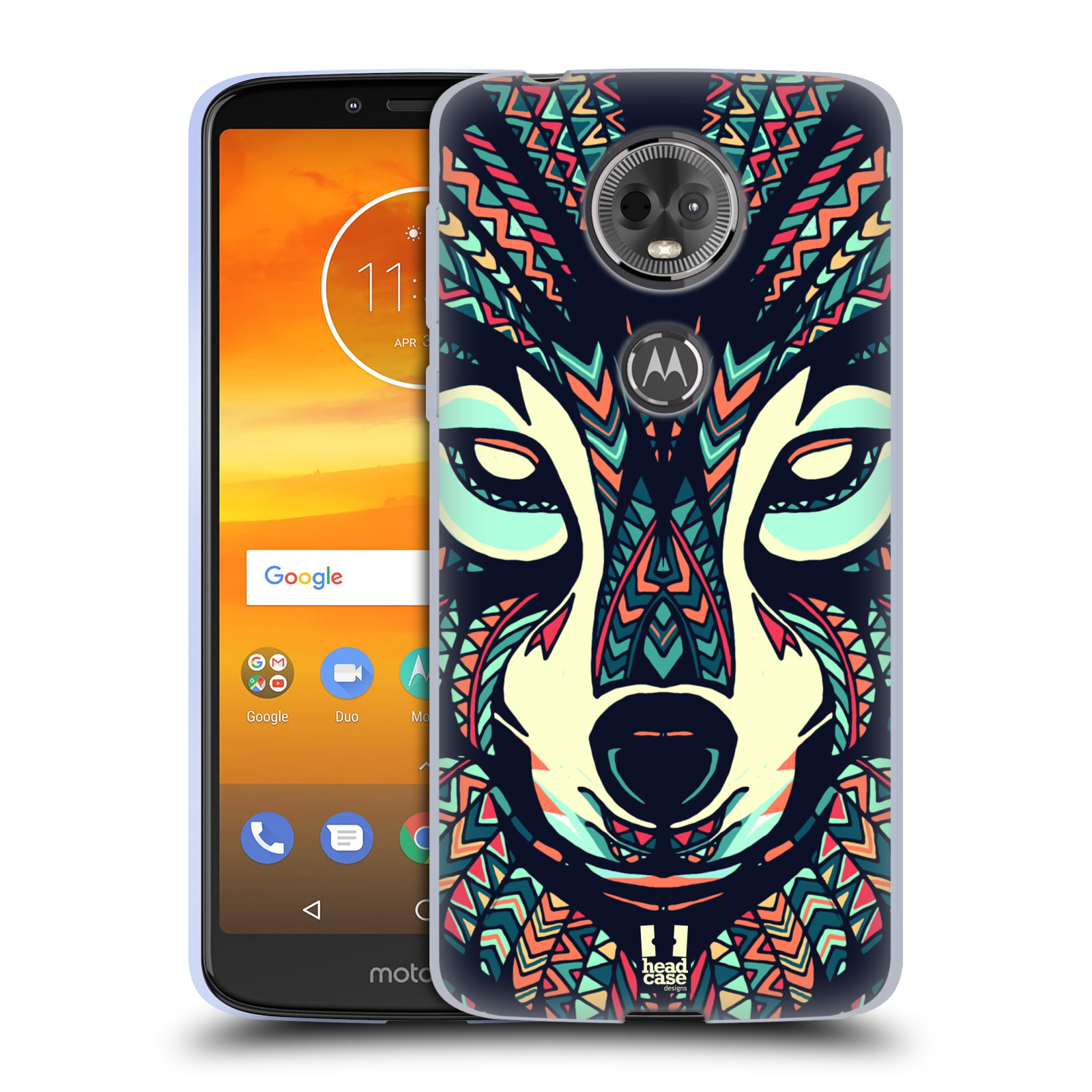 Silikonové pouzdro na mobil Motorola Moto E5 Plus - Head Case - AZTEC VLK (Silikonový kryt či obal na mobilní telefon Lenovo Moto E5 Plus s motivem AZTEC VLK)