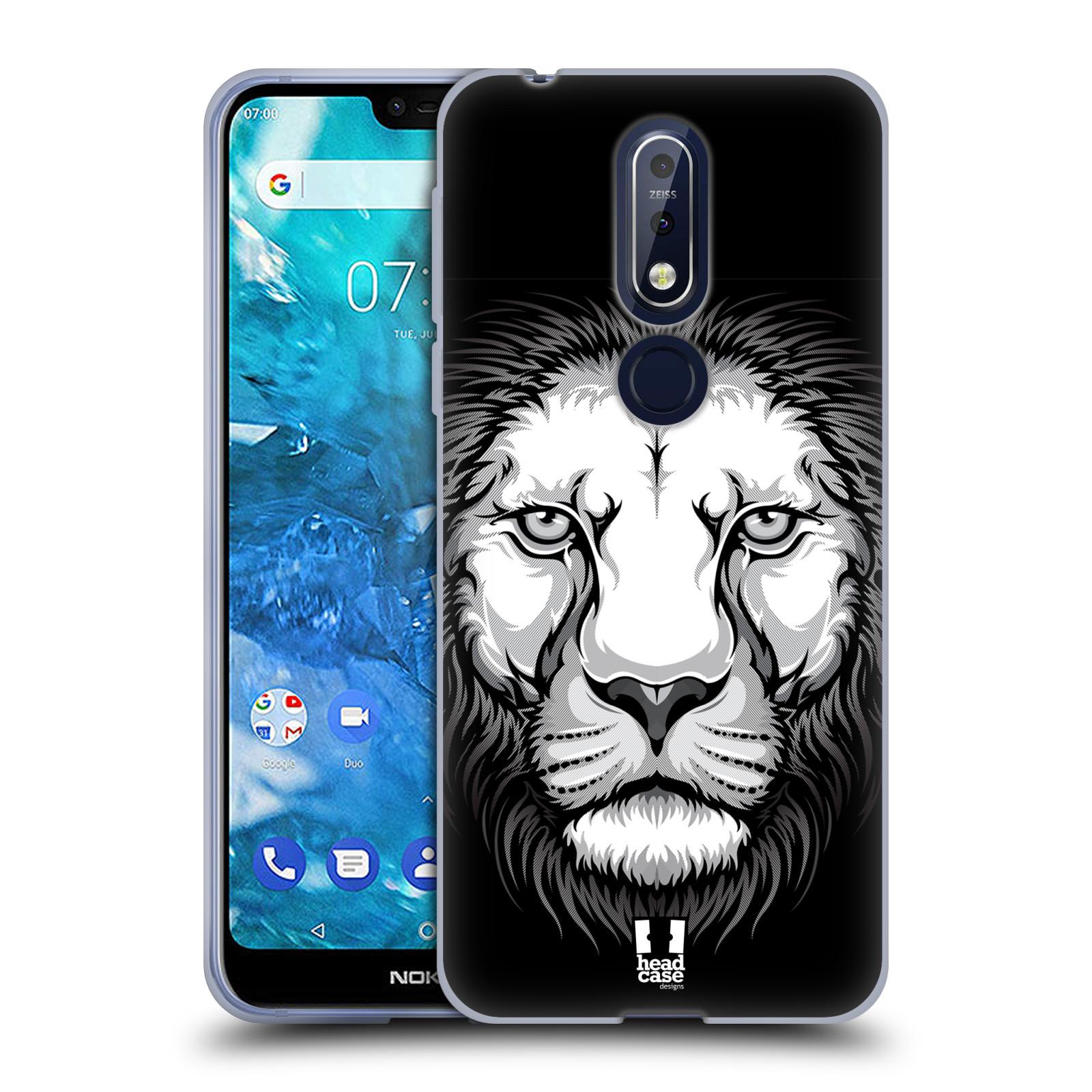 Silikonové pouzdro na mobil Nokia 7.1 - Head Case - ILUSTROVANÝ LEV