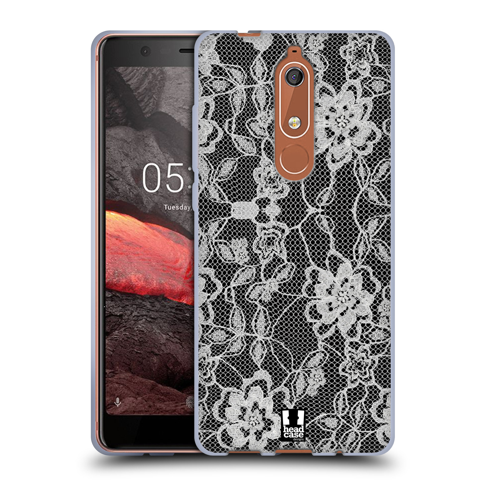 Silikonové pouzdro na mobil Nokia 5.1 - Head Case - FLOWERY KRAJKA