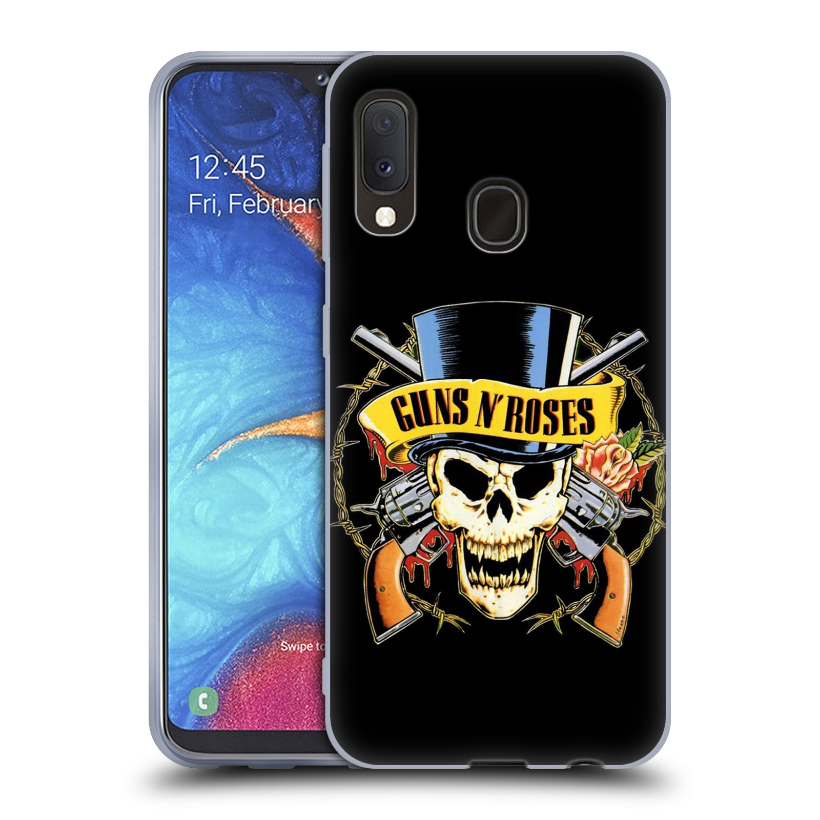 Silikonové pouzdro na mobil Samsung Galaxy A20e - Head Case - Guns N' Roses - Lebka