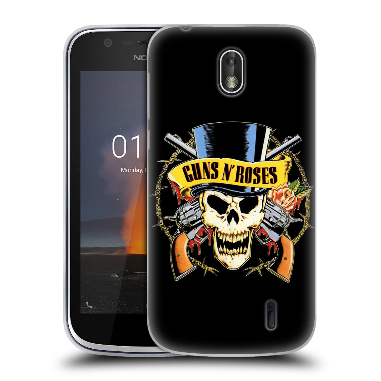 Silikonové pouzdro na mobil Nokia 1 - Head Case - Guns N' Roses - Lebka