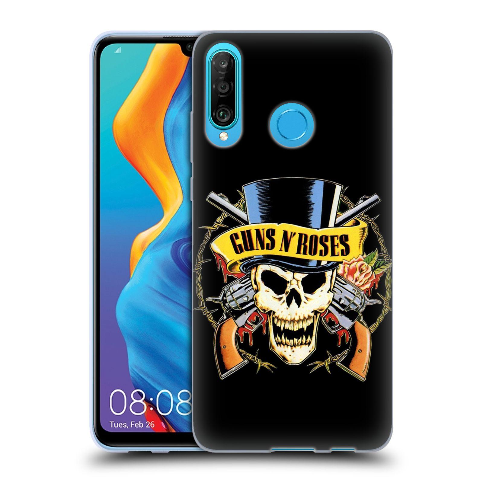 Silikonové pouzdro na mobil Huawei P30 Lite - Head Case - Guns N' Roses - Lebka