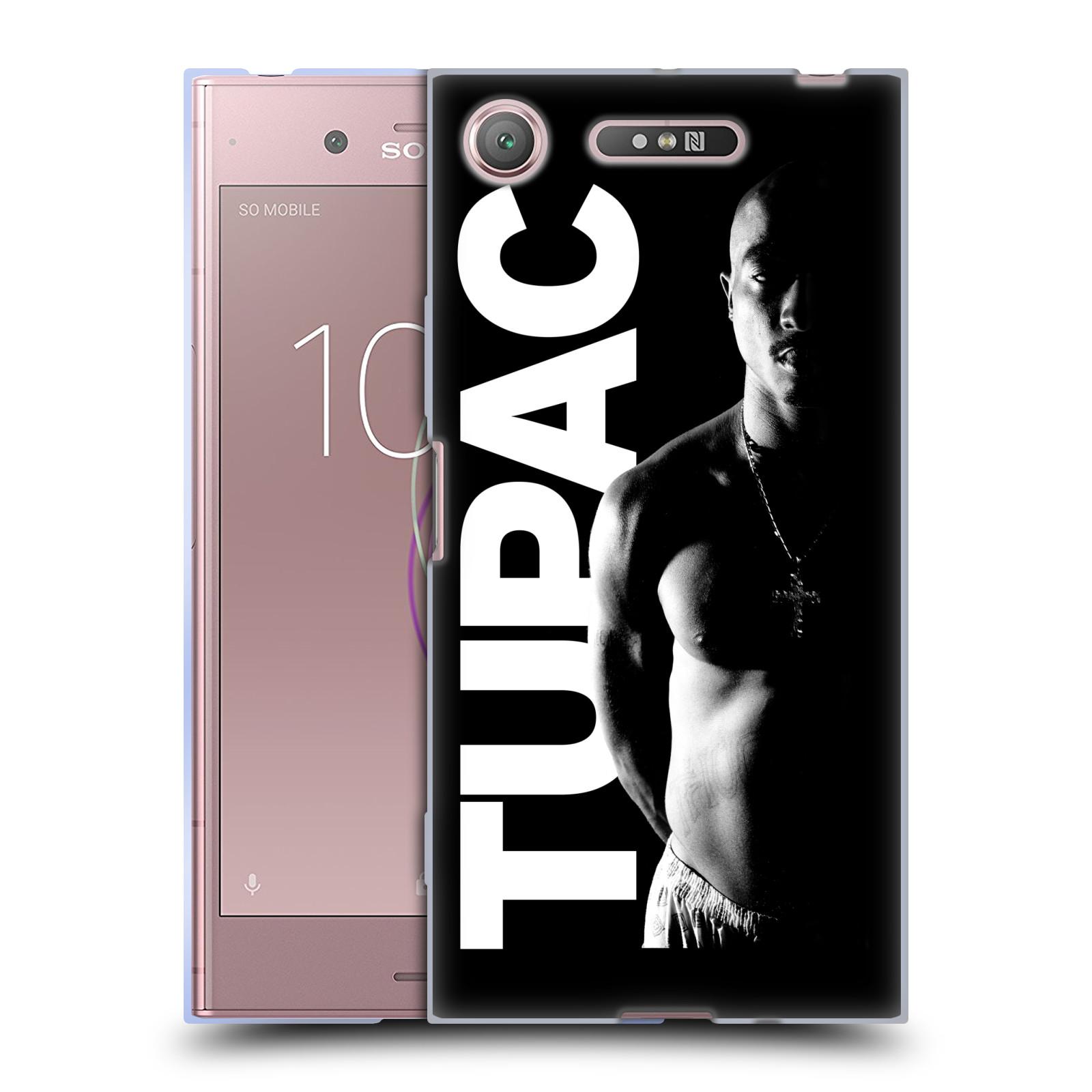 Silikonové pouzdro na mobil Sony Xperia XZ1 - Head Case - TUPAC - Black and White (Silikonový kryt či obal na mobilní telefon Sony Xperia XZ1 (G8342 Dual Sim / G8341 Single Sim) s motivem TUPAC - Black and White)