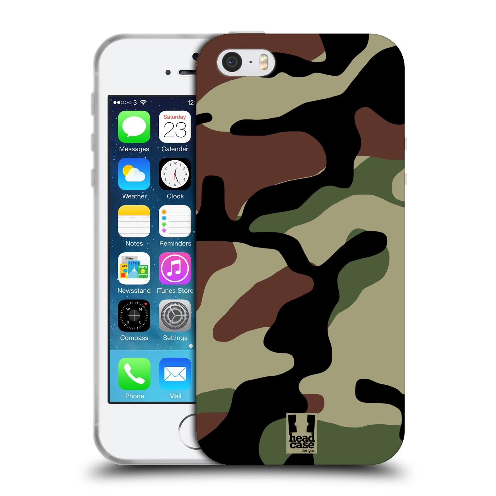 Silikonové pouzdro na mobil Apple iPhone 5, 5S, SE - Head Case - Maskáče