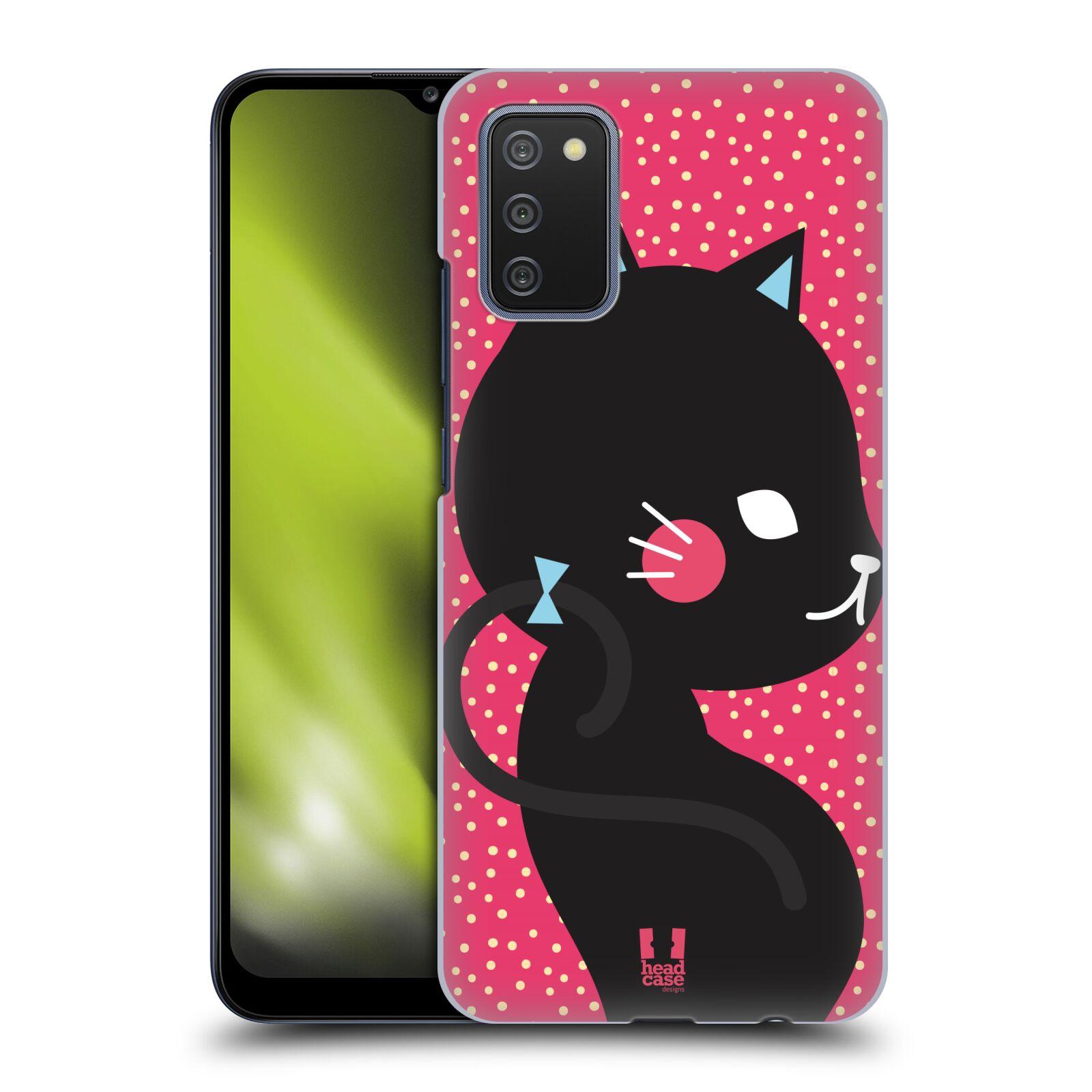 Plastové pouzdro na mobil Samsung Galaxy A02s - Head Case - KOČIČKA Černá NA RŮŽOVÉ