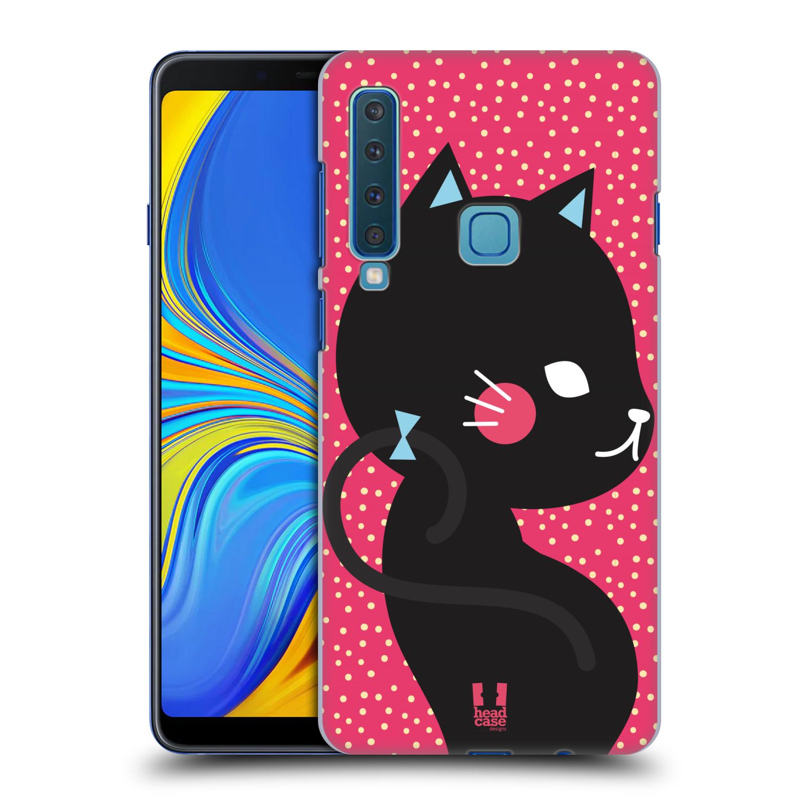 Plastové pouzdro na mobil Samsung Galaxy A9 (2018) - Head Case - KOČIČKA Černá NA RŮŽOVÉ