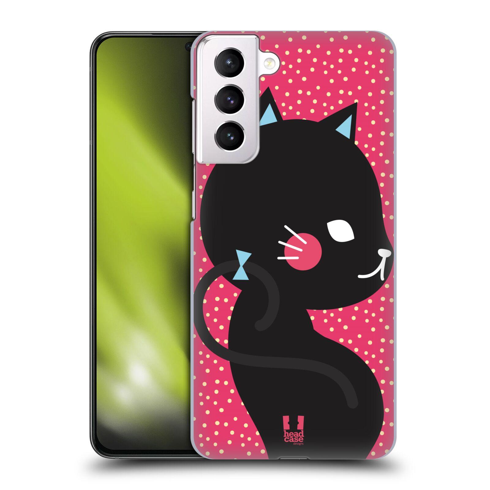 Plastové pouzdro na mobil Samsung Galaxy S21 Plus 5G - Head Case - KOČIČKA Černá NA RŮŽOVÉ