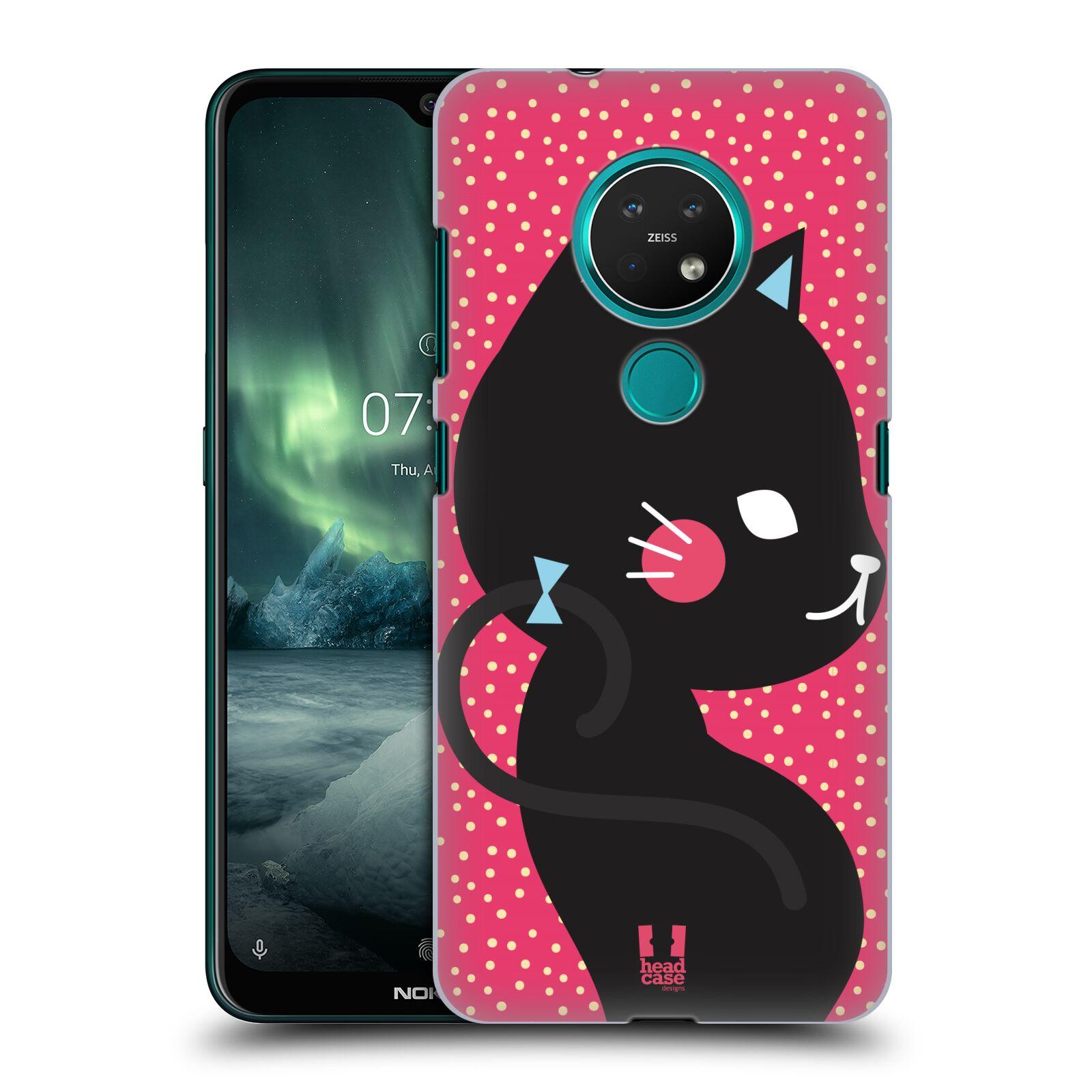 Plastové pouzdro na mobil Nokia 6.2 / 7.2 - Head Case - KOČIČKA Černá NA RŮŽOVÉ