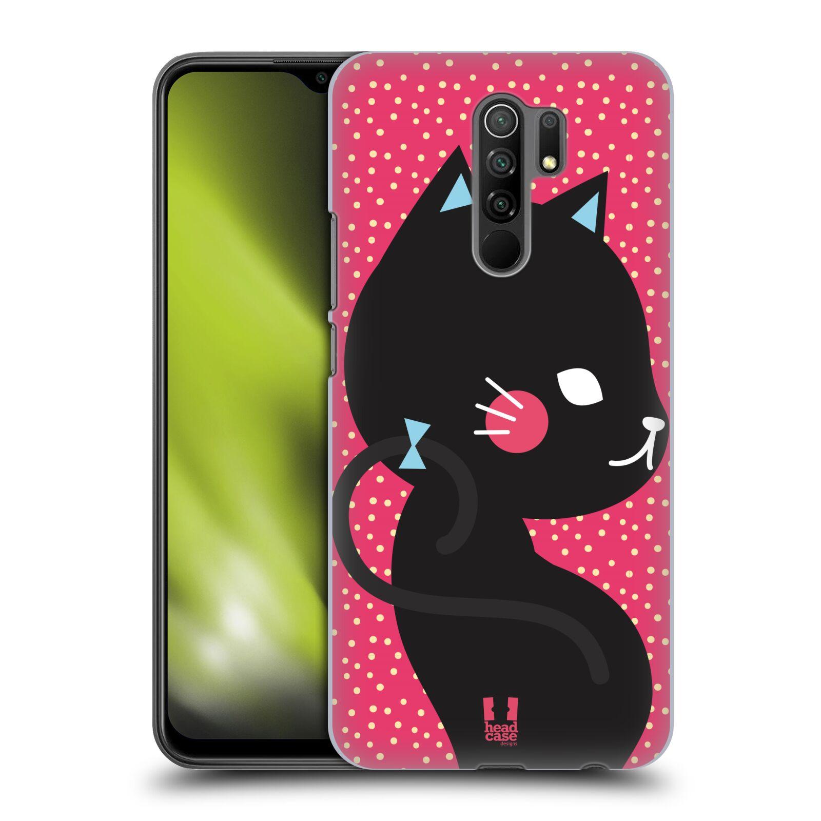 Plastové pouzdro na mobil Xiaomi Redmi 9 - Head Case - KOČIČKA Černá NA RŮŽOVÉ