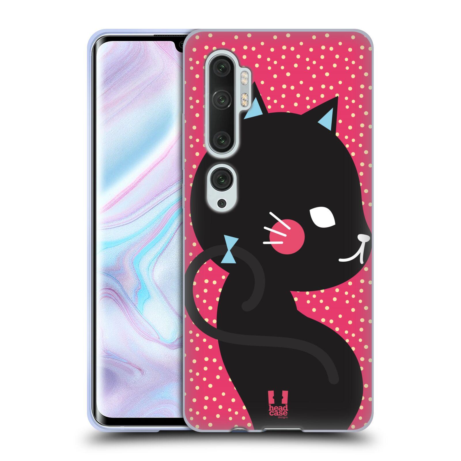 Silikonové pouzdro na mobil Xiaomi Mi Note 10 / 10 Pro - Head Case - KOČIČKA Černá NA RŮŽOVÉ