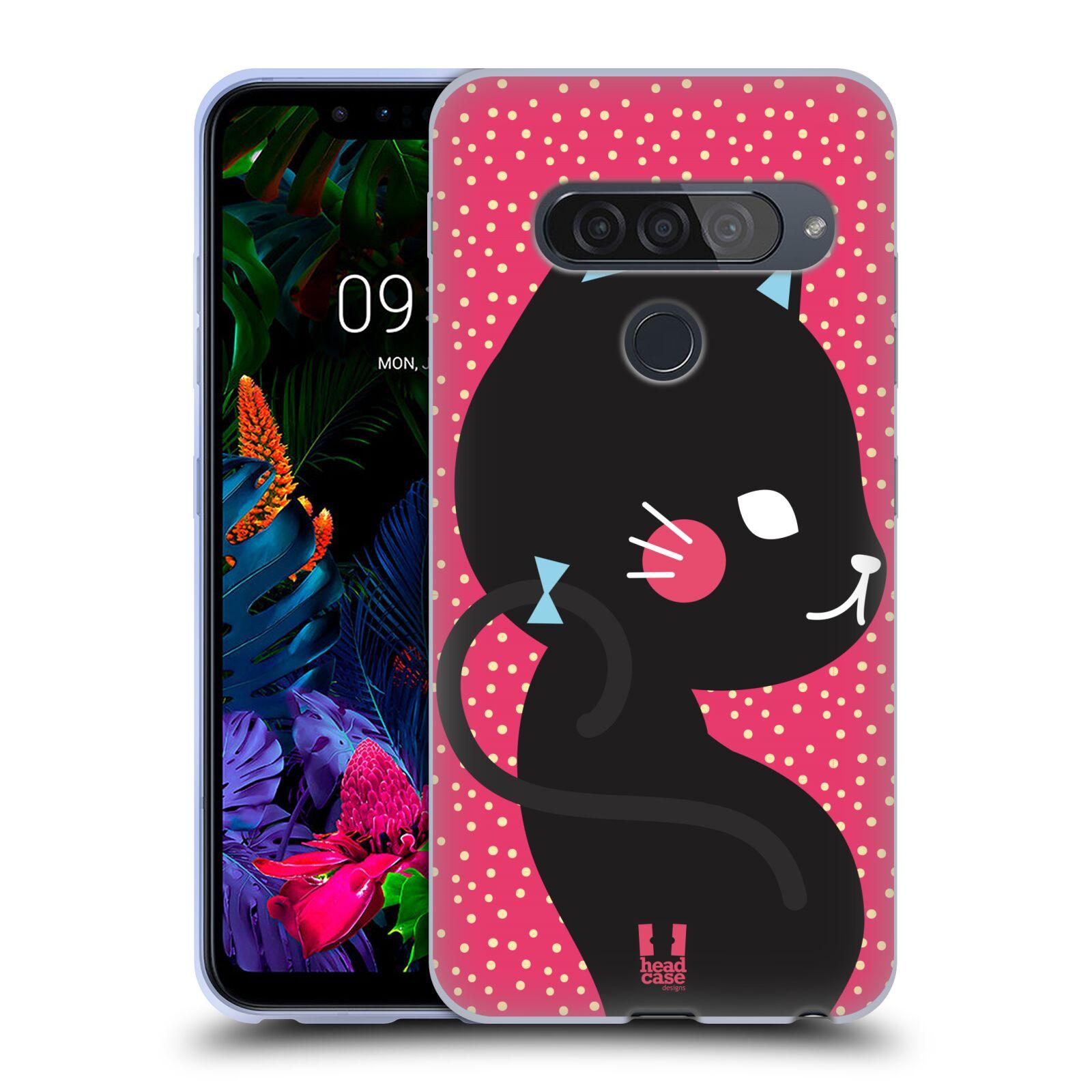 Silikonové pouzdro na mobil LG G8s ThinQ - Head Case - KOČIČKA Černá NA RŮŽOVÉ