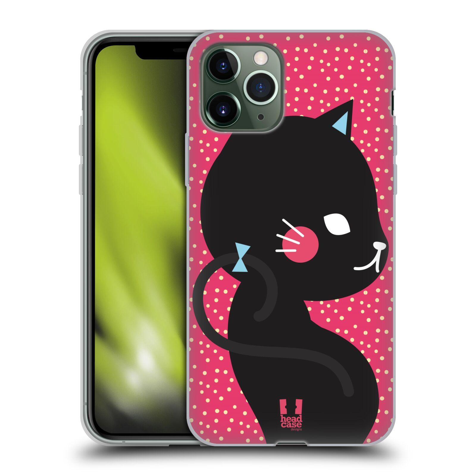 iphone 7 plus zadni kryty , Silikonové pouzdro na mobil Apple iPhone 11 Pro - Head Case - KOČIČKA Černá NA RŮŽOVÉ