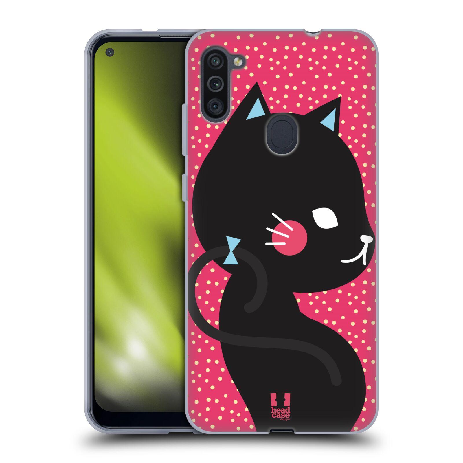Silikonové pouzdro na mobil Samsung Galaxy M11 - Head Case - KOČIČKA Černá NA RŮŽOVÉ