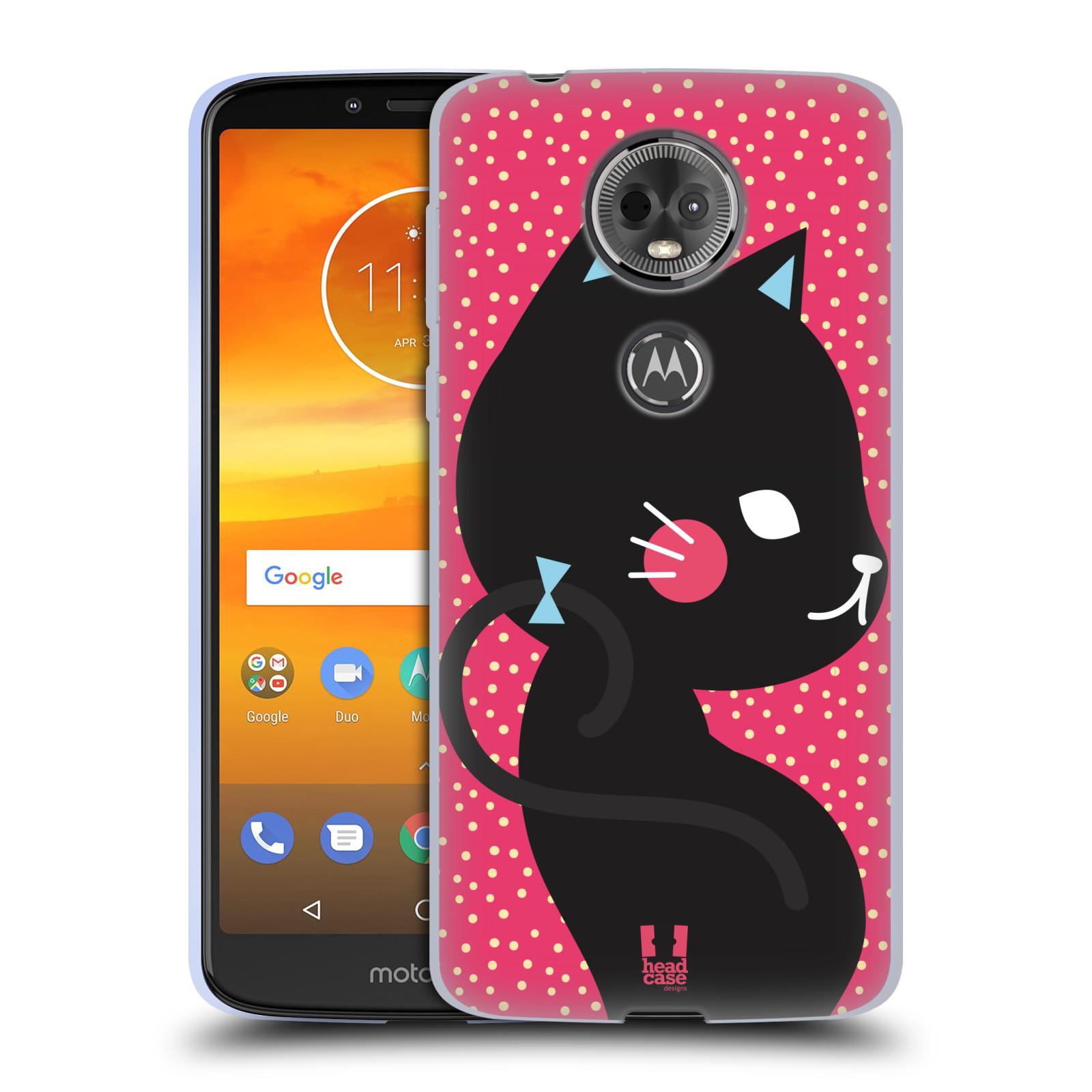 Silikonové pouzdro na mobil Motorola Moto E5 Plus - Head Case - KOČIČKA Černá NA RŮŽOVÉ