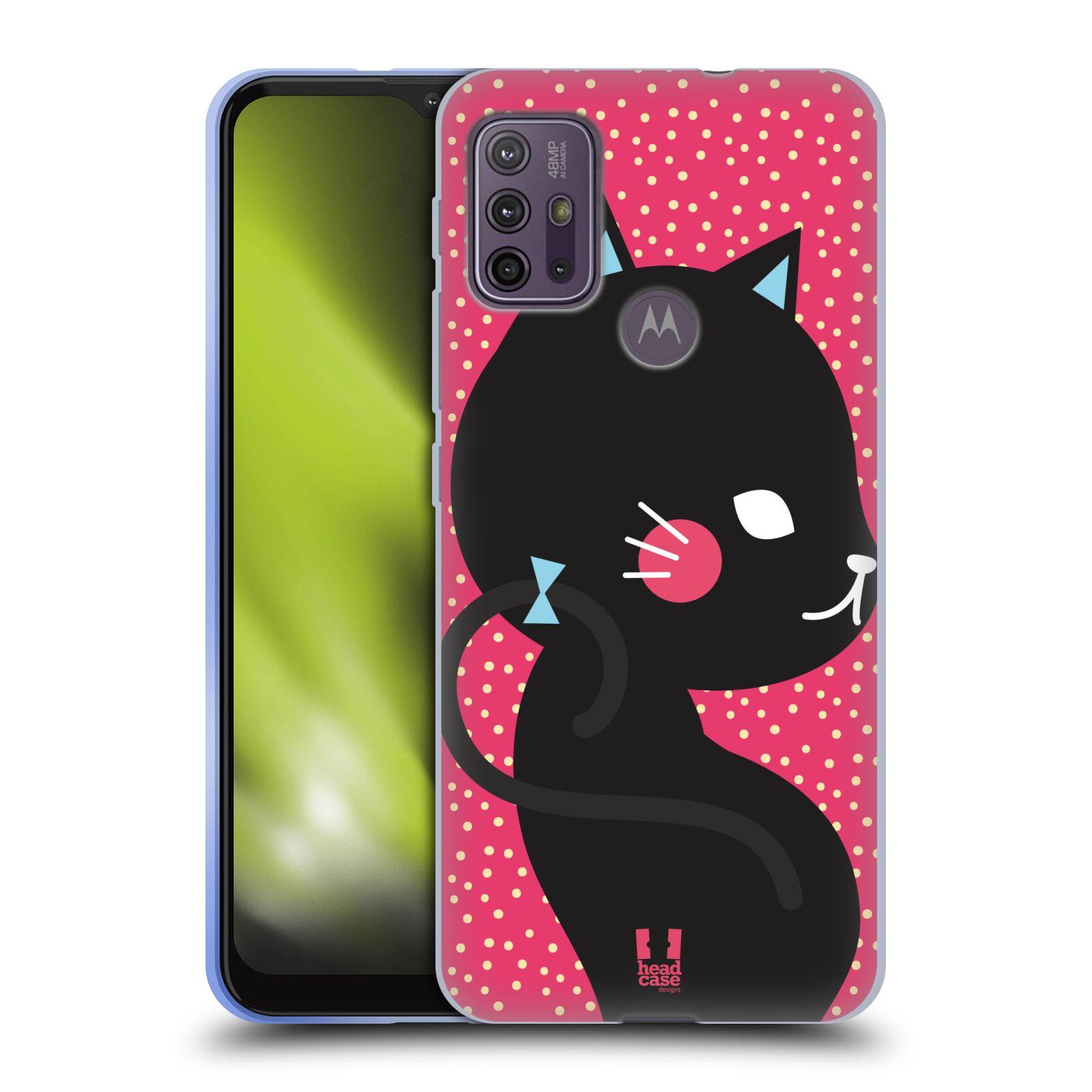 Silikonové pouzdro na mobil Motorola Moto G10 / G30 - Head Case - KOČIČKA Černá NA RŮŽOVÉ