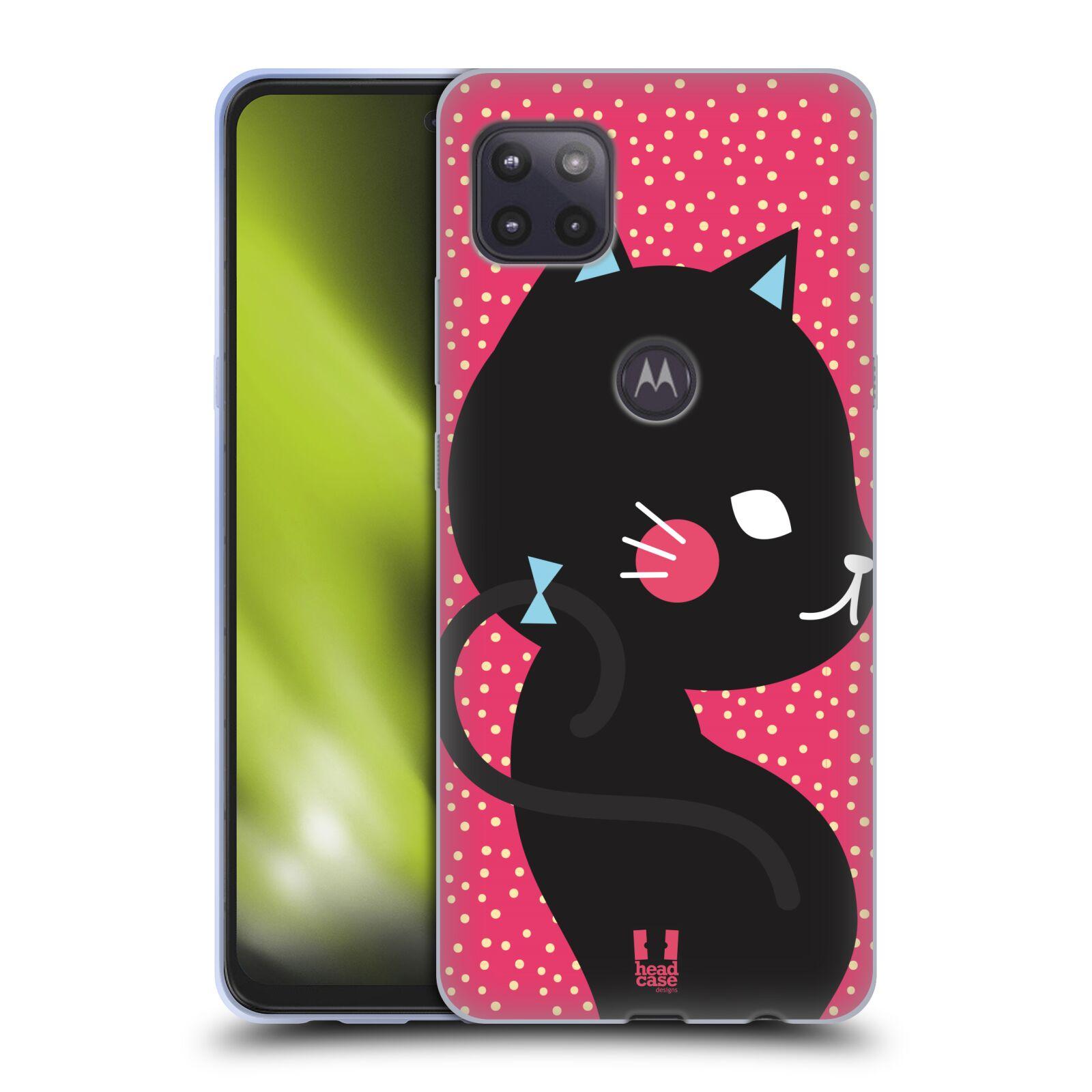 Silikonové pouzdro na mobil Motorola Moto G 5G - Head Case - KOČIČKA Černá NA RŮŽOVÉ