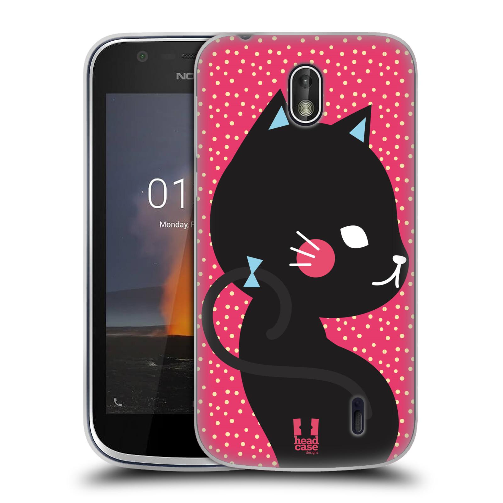 Silikonové pouzdro na mobil Nokia 1 - Head Case - KOČIČKA Černá NA RŮŽOVÉ