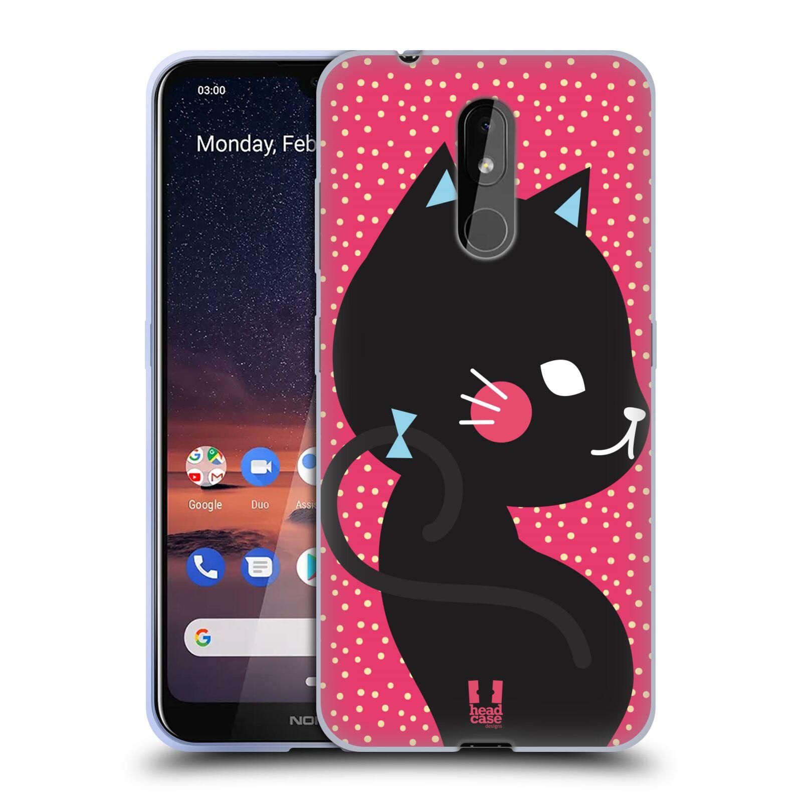 Silikonové pouzdro na mobil Nokia 3.2 - Head Case - KOČIČKA Černá NA RŮŽOVÉ