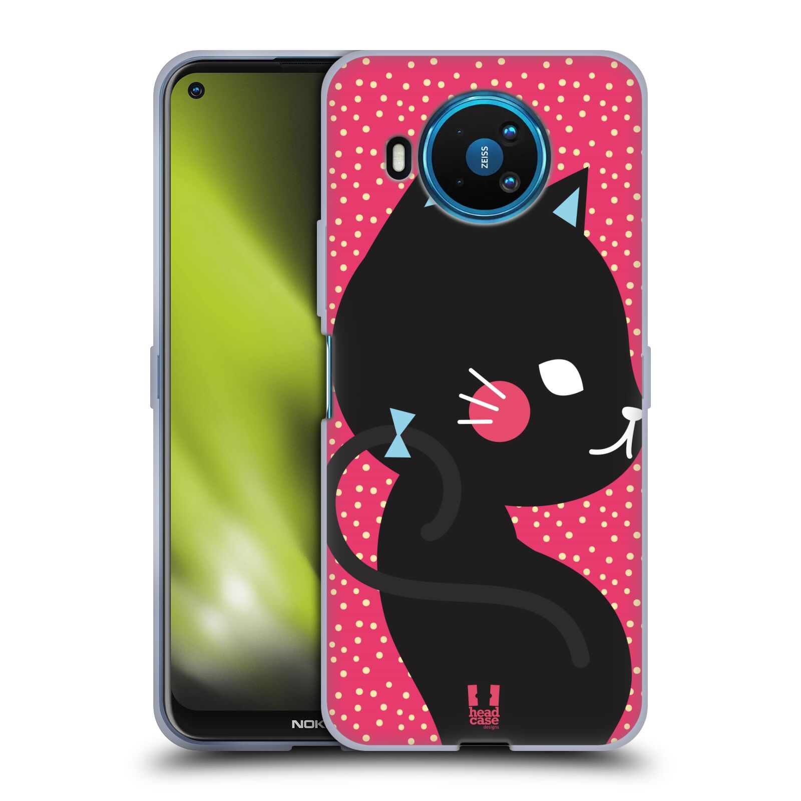 Silikonové pouzdro na mobil Nokia 8.3 5G - Head Case - KOČIČKA Černá NA RŮŽOVÉ