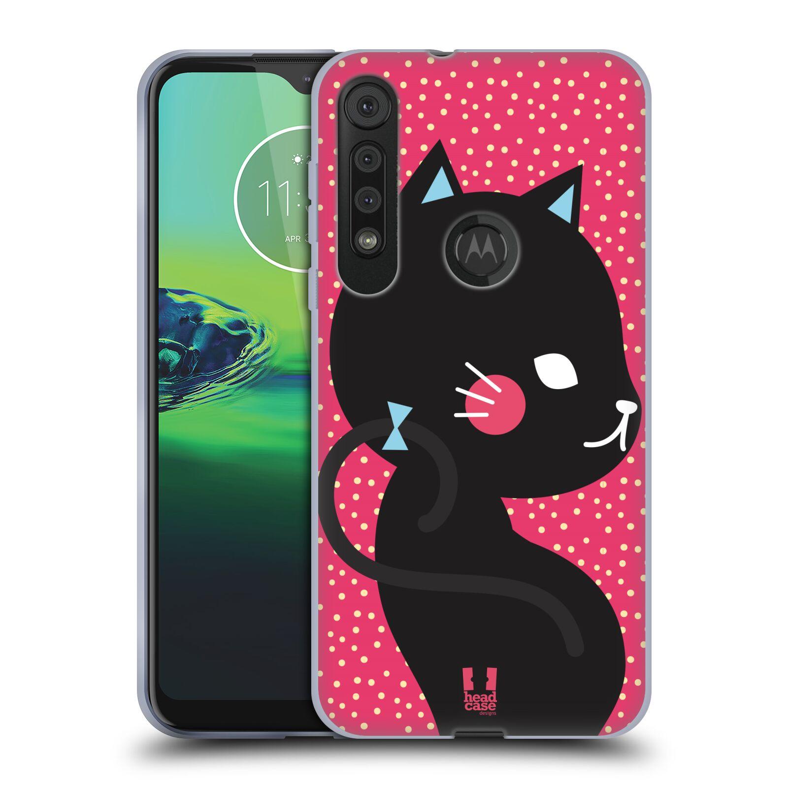Silikonové pouzdro na mobil Motorola One Macro - Head Case - KOČIČKA Černá NA RŮŽOVÉ