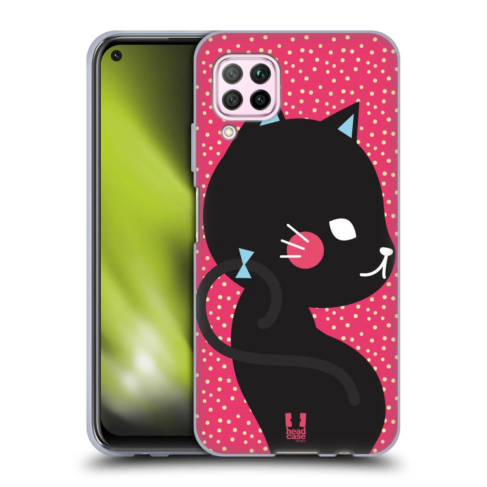 Silikonové pouzdro na mobil Huawei P40 Lite - Head Case - KOČIČKA Černá NA RŮŽOVÉ
