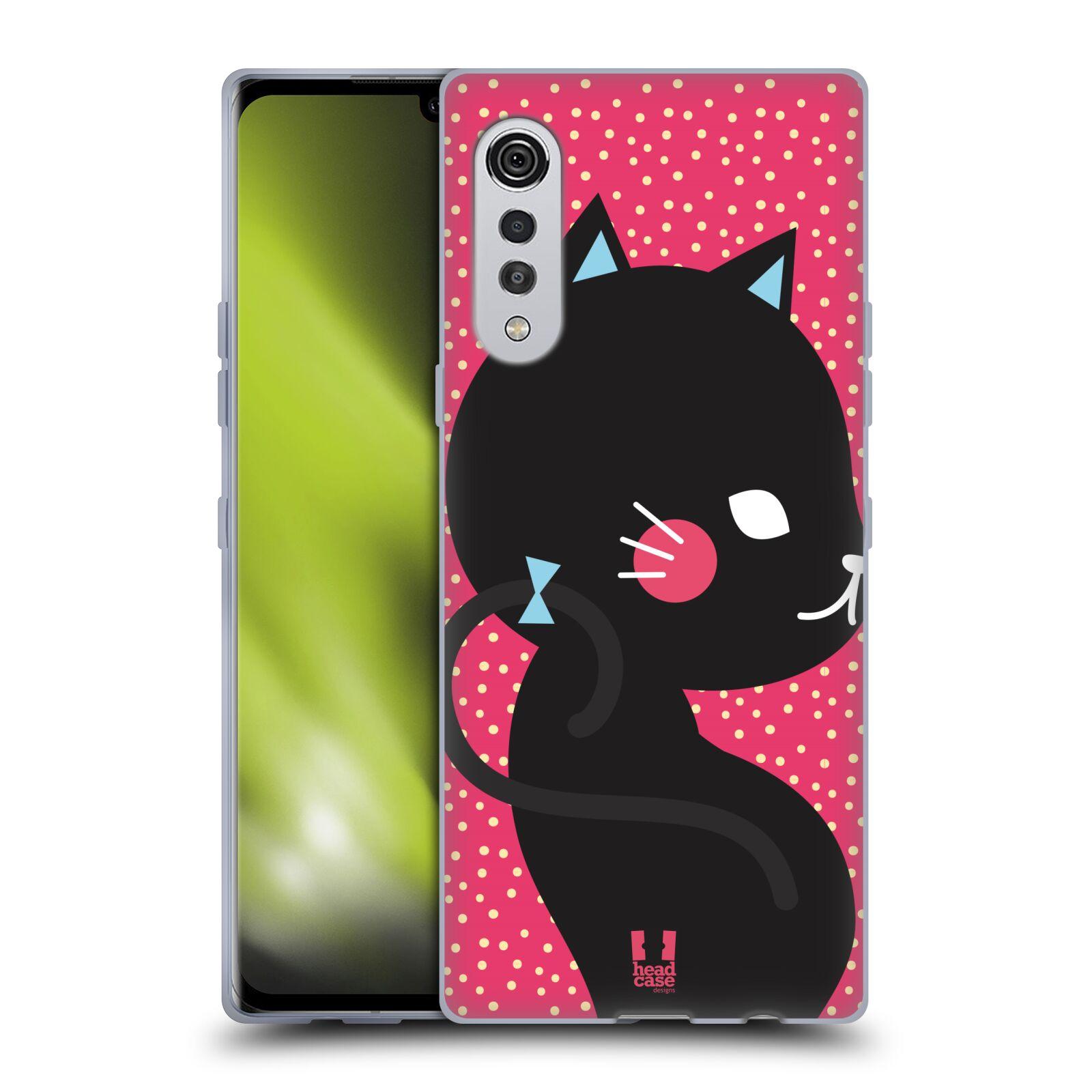 Silikonové pouzdro na mobil LG Velvet - Head Case - KOČIČKA Černá NA RŮŽOVÉ