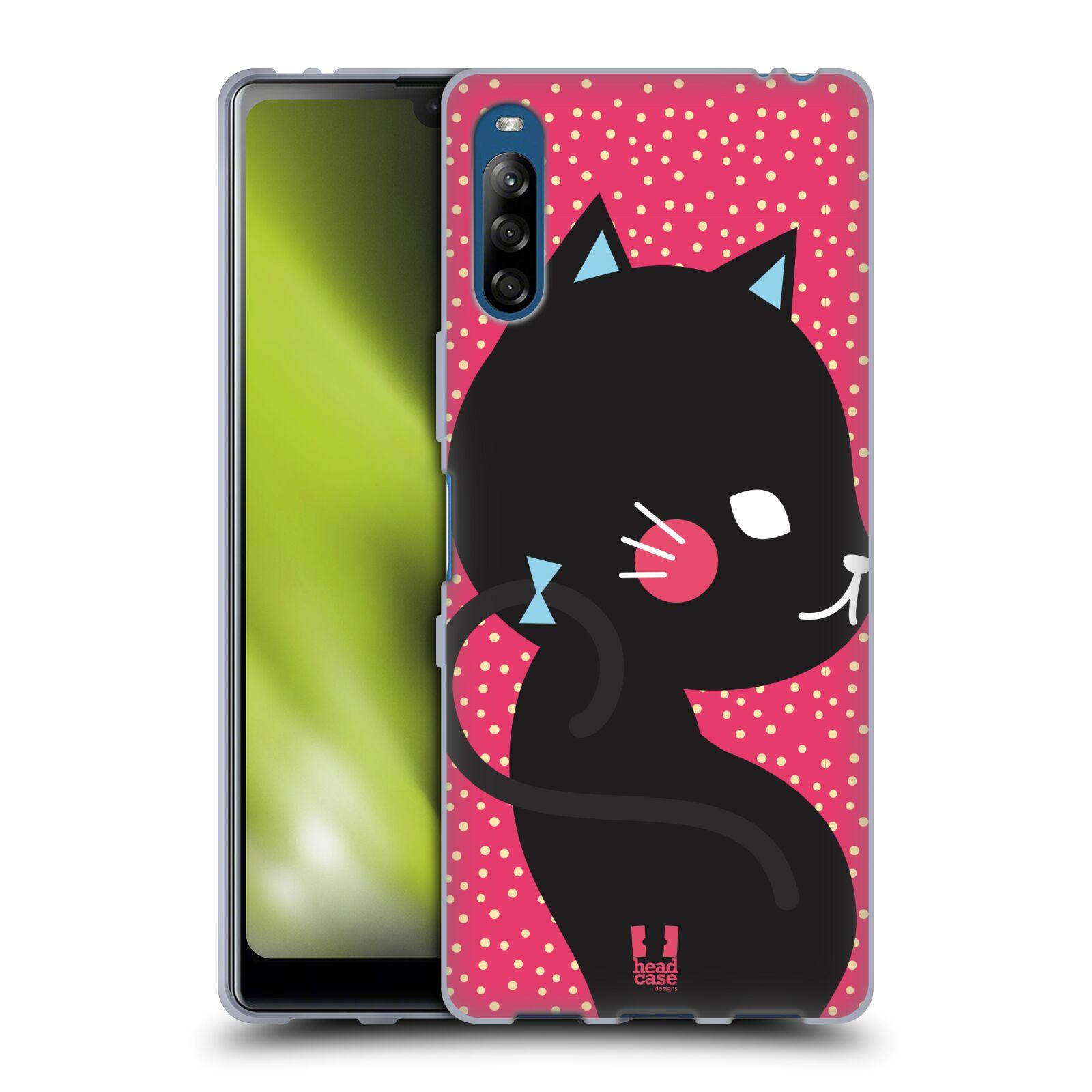 Silikonové pouzdro na mobil Sony Xperia L4 - Head Case - KOČIČKA Černá NA RŮŽOVÉ