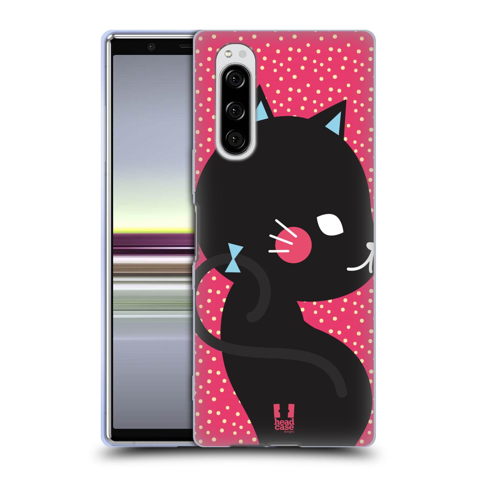 Silikonové pouzdro na mobil Sony Xperia 5 - Head Case - KOČIČKA Černá NA RŮŽOVÉ