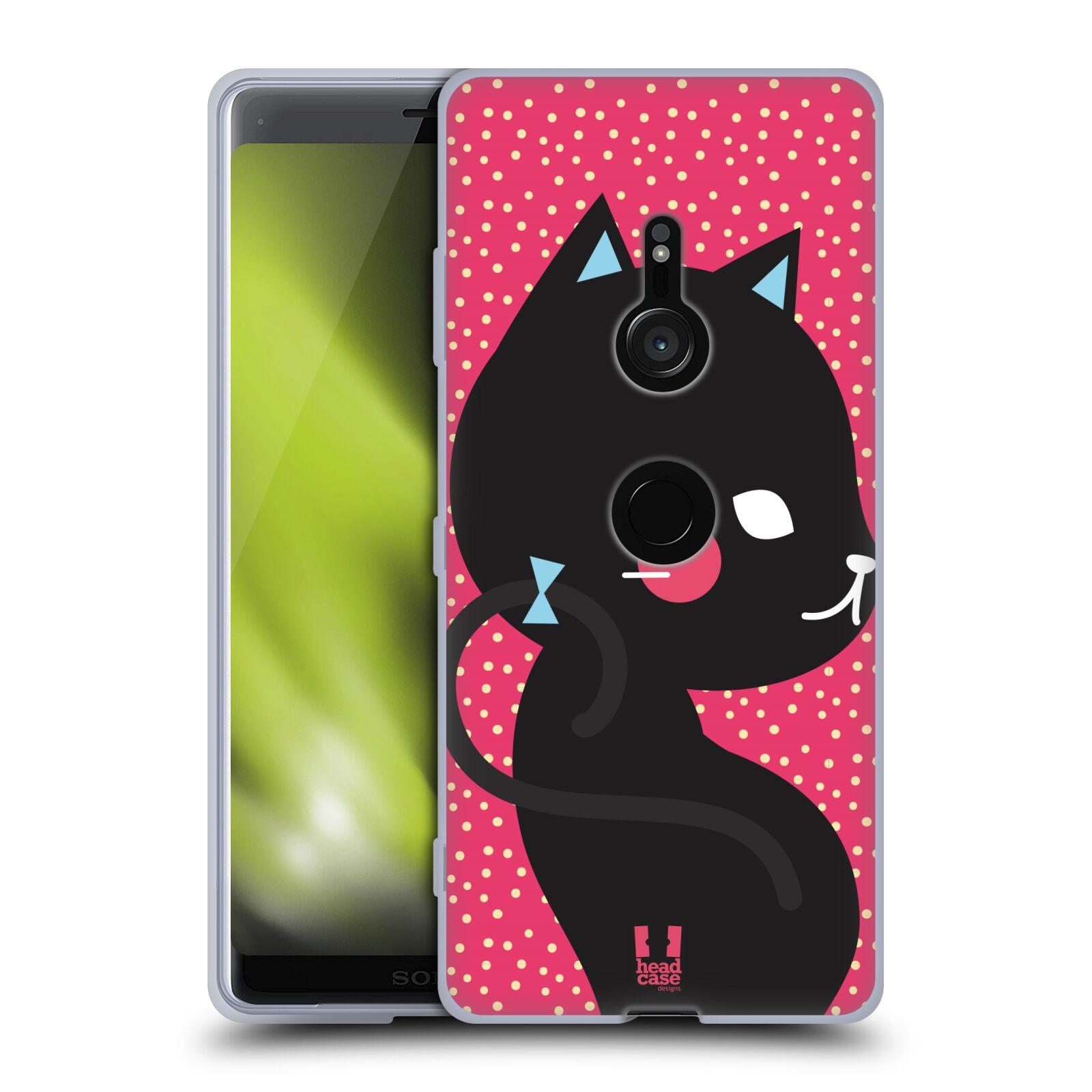 Silikonové pouzdro na mobil Sony Xperia XZ3 - Head Case - KOČIČKA Černá NA RŮŽOVÉ