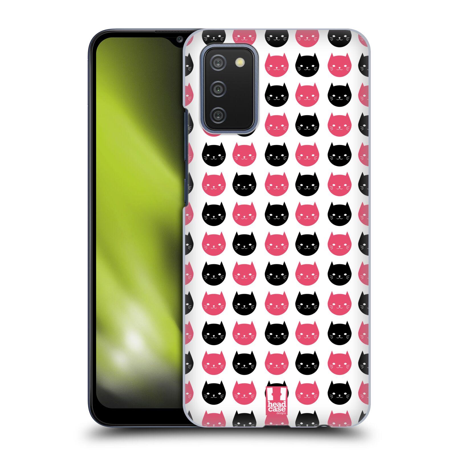 Plastové pouzdro na mobil Samsung Galaxy A02s - Head Case - KOČKY Black and Pink