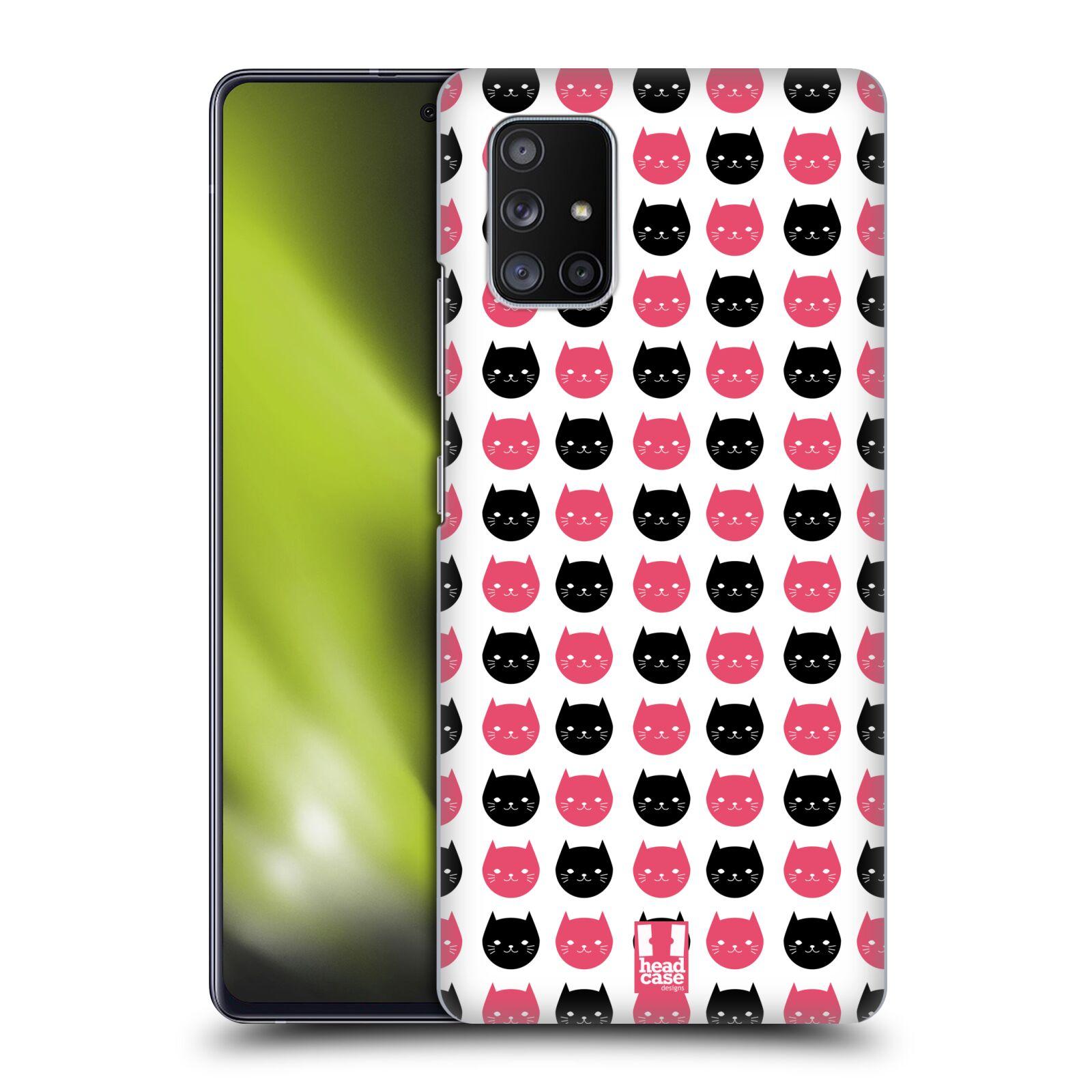 Plastové pouzdro na mobil Samsung Galaxy A51 5G - Head Case - KOČKY Black and Pink