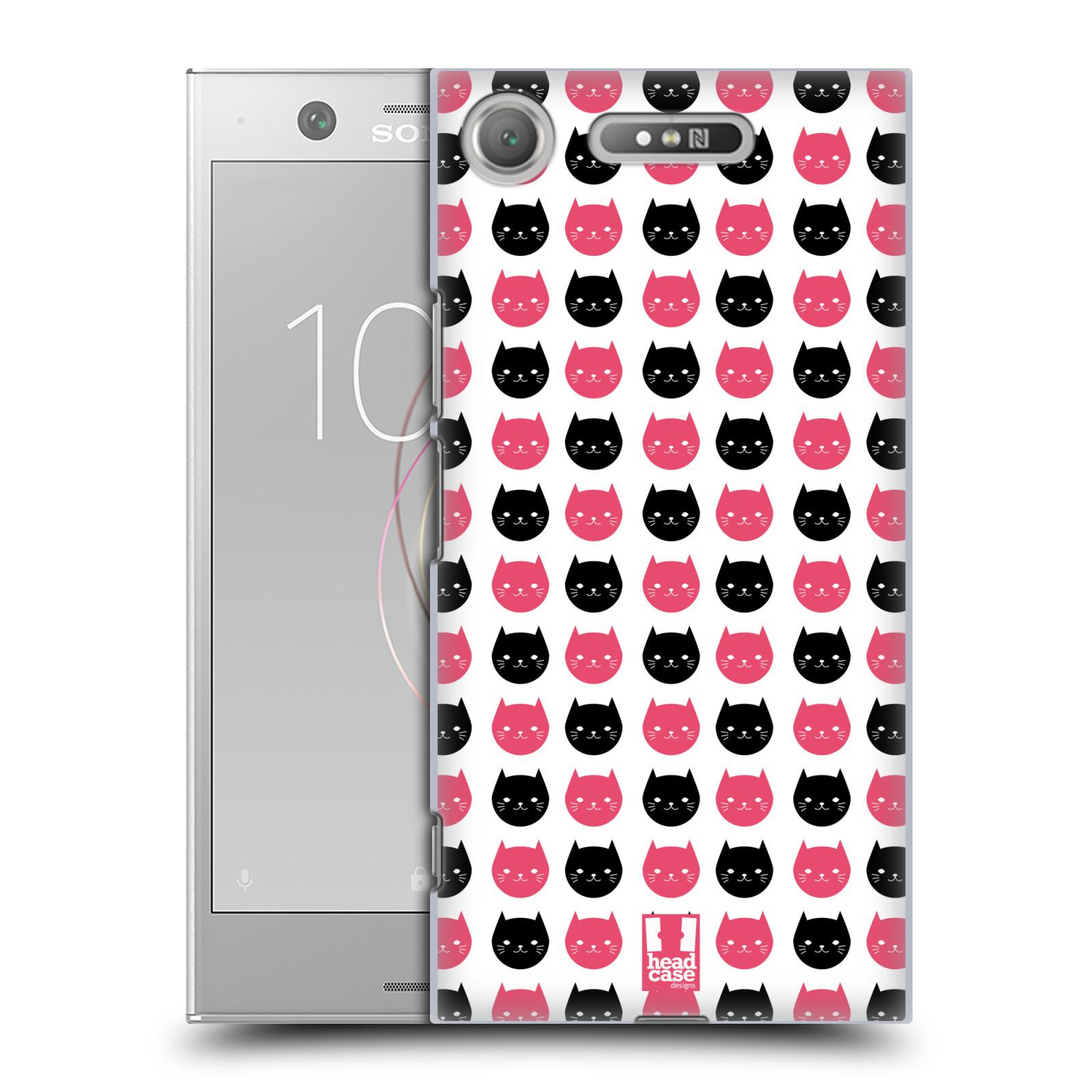 Plastové pouzdro na mobil Sony Xperia XZ1 - Head Case - KOČKY Black and Pink (Plastový kryt či obal na mobilní telefon Sony Xperia XZ1 (G8342 Dual Sim / G8341 Single Sim) s motivem KOČKY Black and Pink)